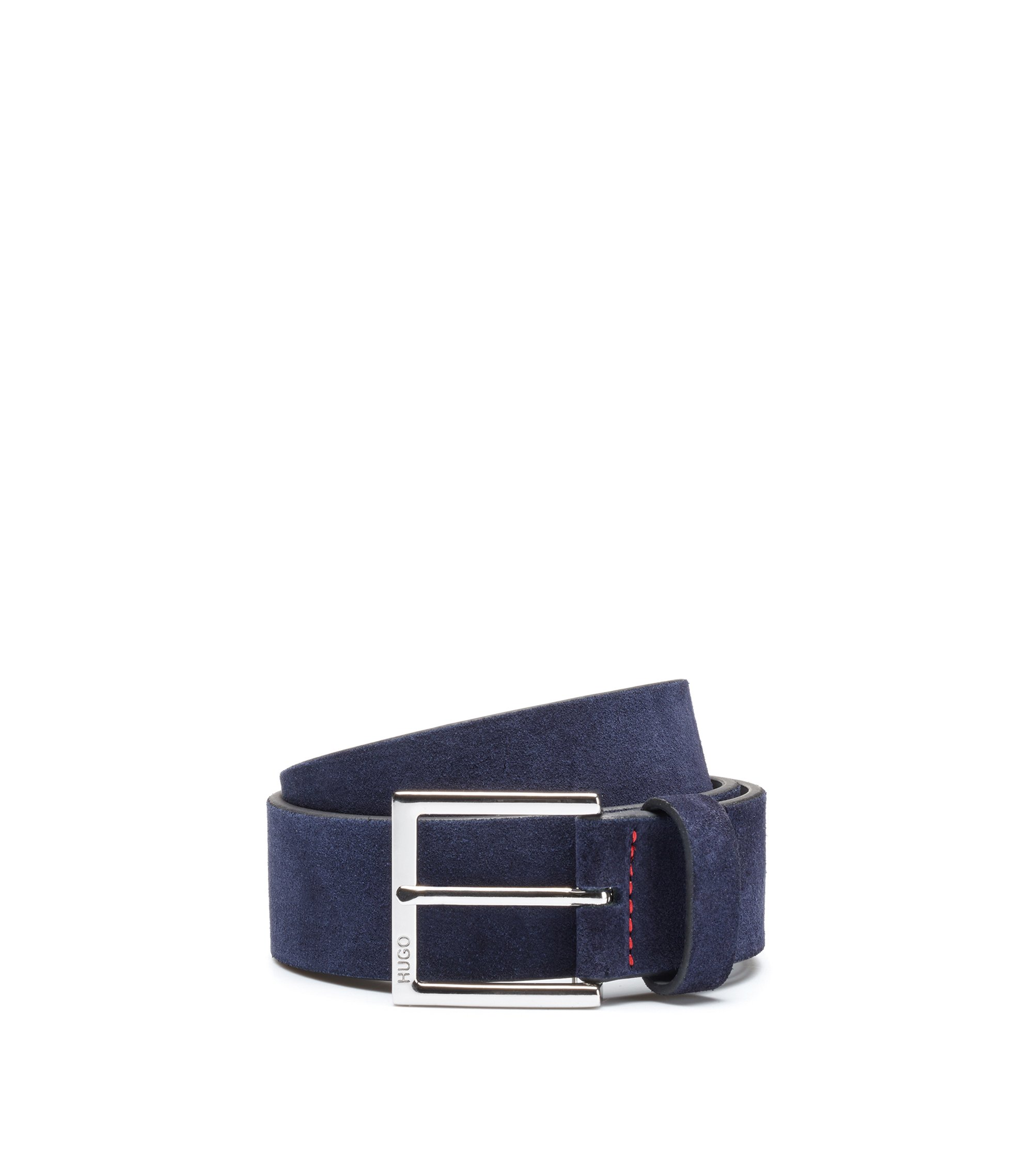 Suede belt with polished silver-effect buckle, Dark Blue