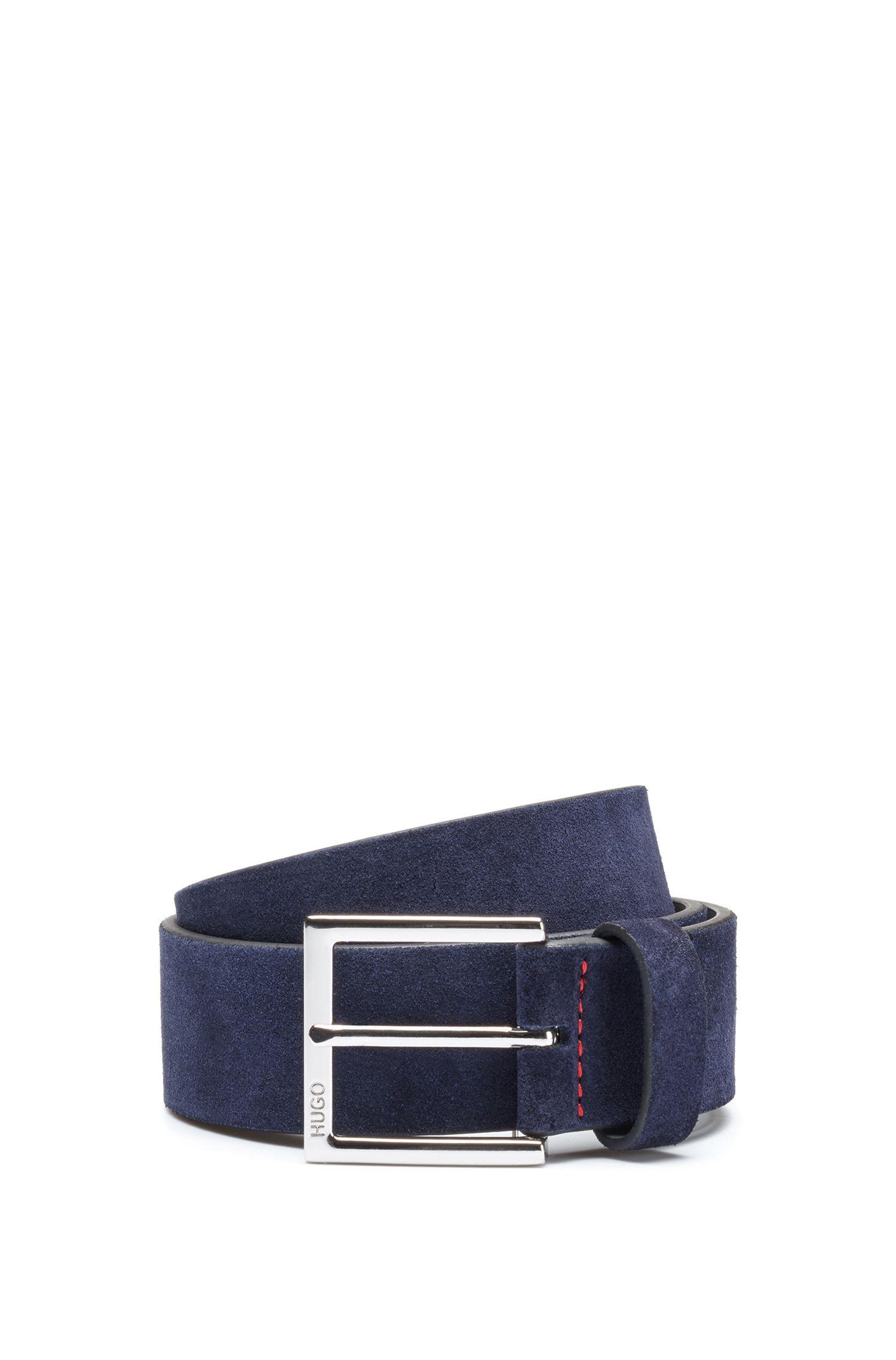 Suede belt with polished silver-effect buckle, Dark Blue