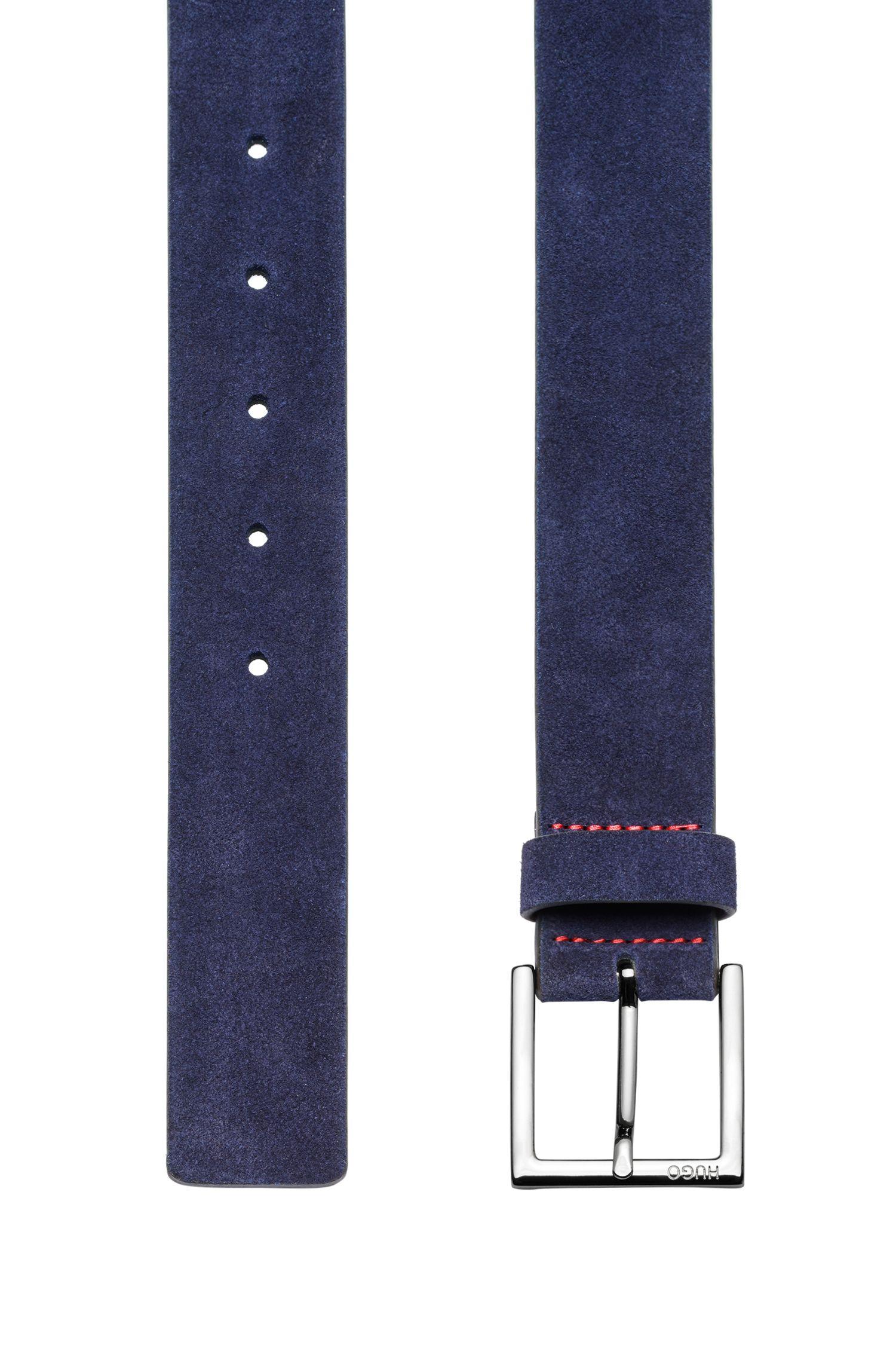 Ceinture en daim avec boucle argentée polie, Bleu foncé