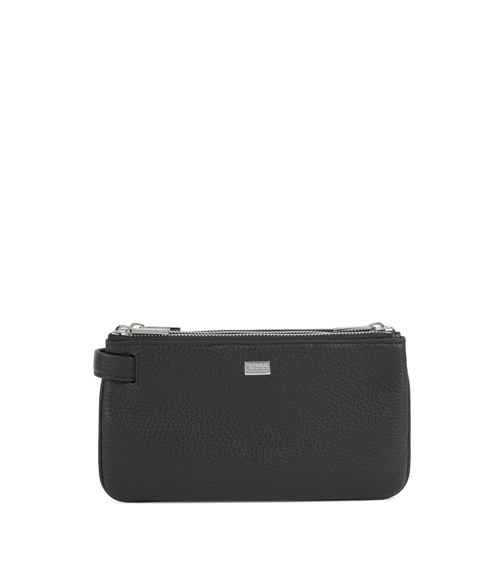 Zipped pochette in grainy leather with retractable handle, Black