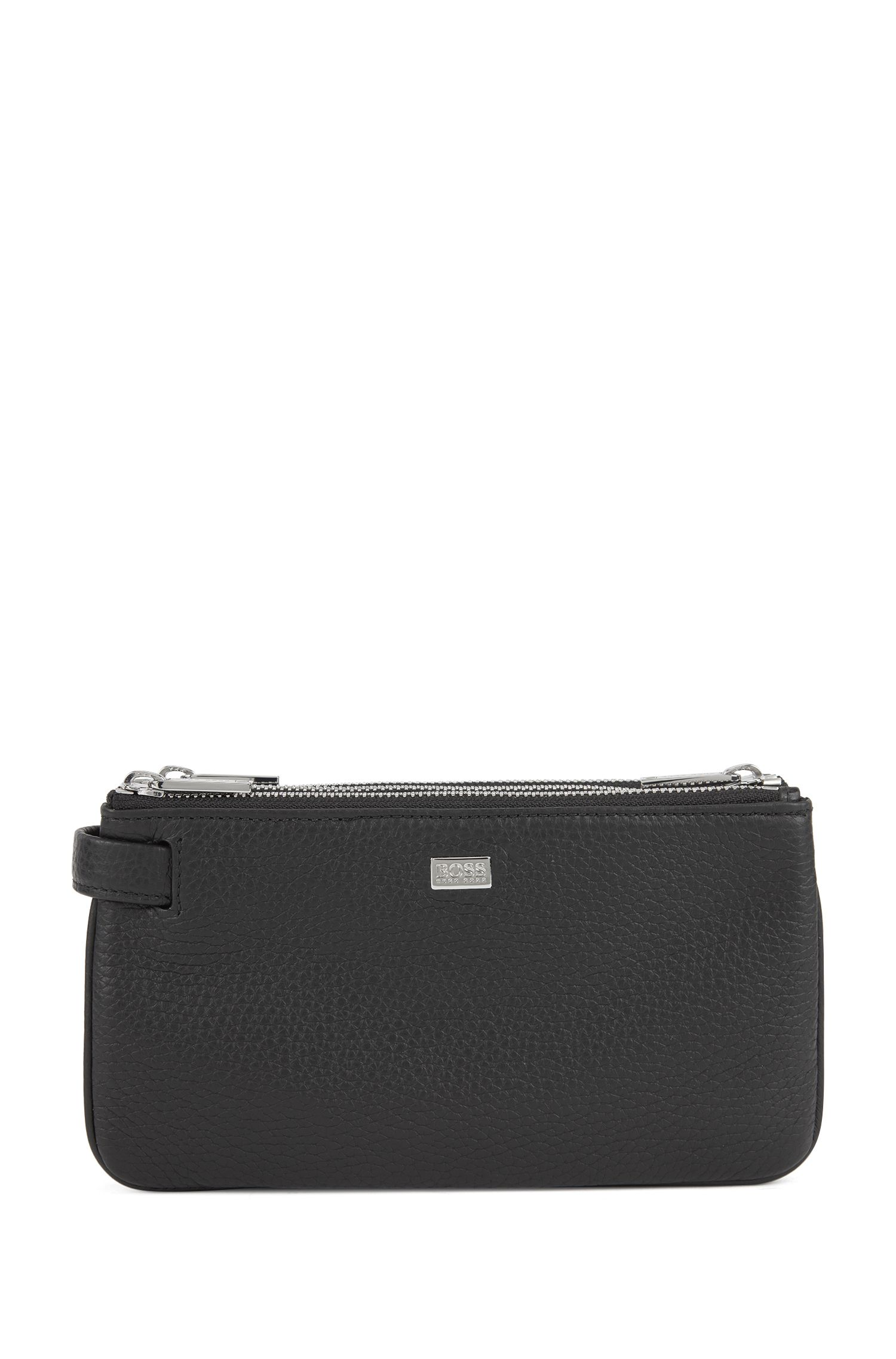 Pochette aus genarbtem Leder mit Reißverschluss und ausziehbarer Schlaufe, Schwarz