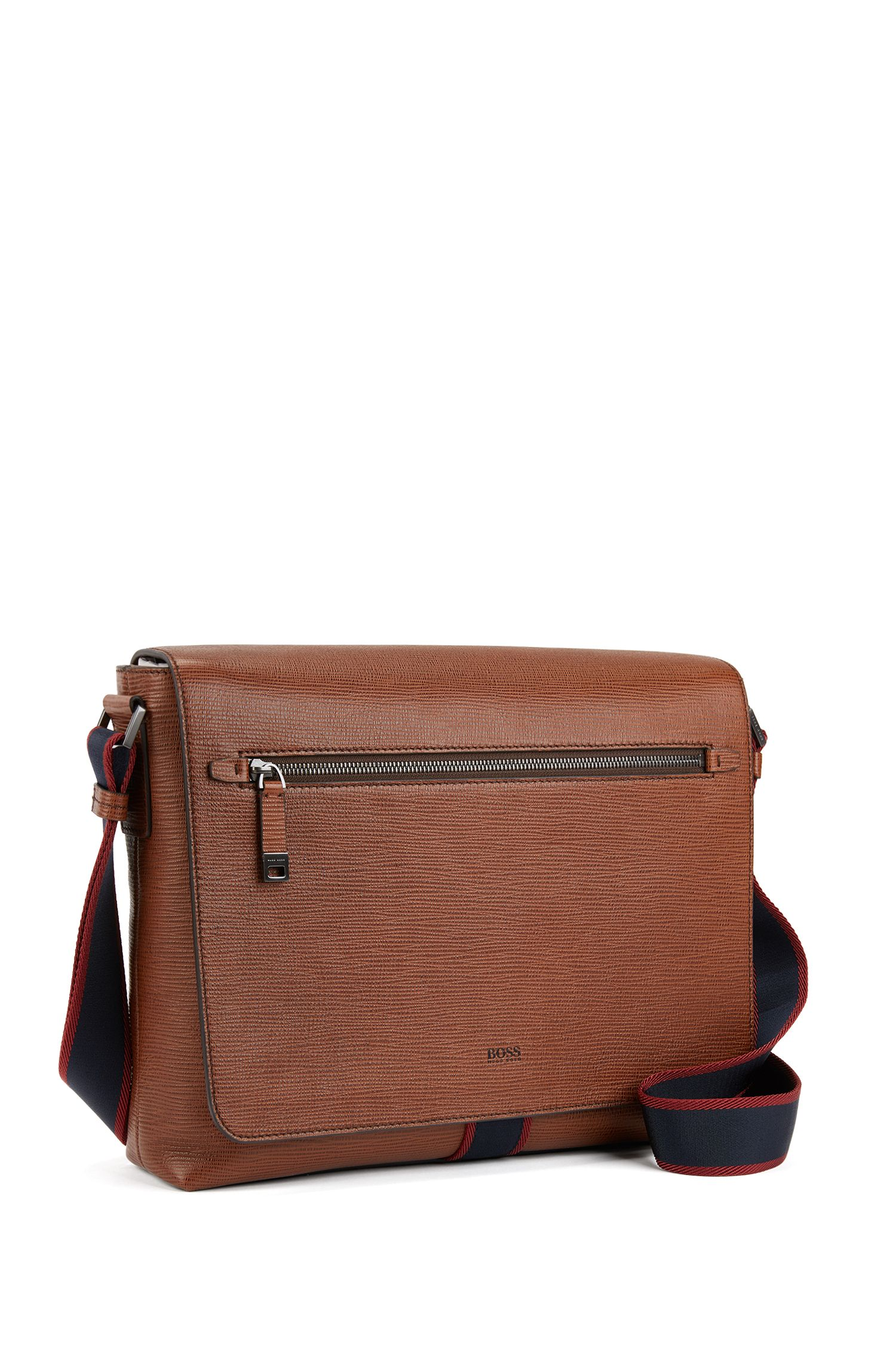 Printed Italian calf-leather messenger bag with webbing detail