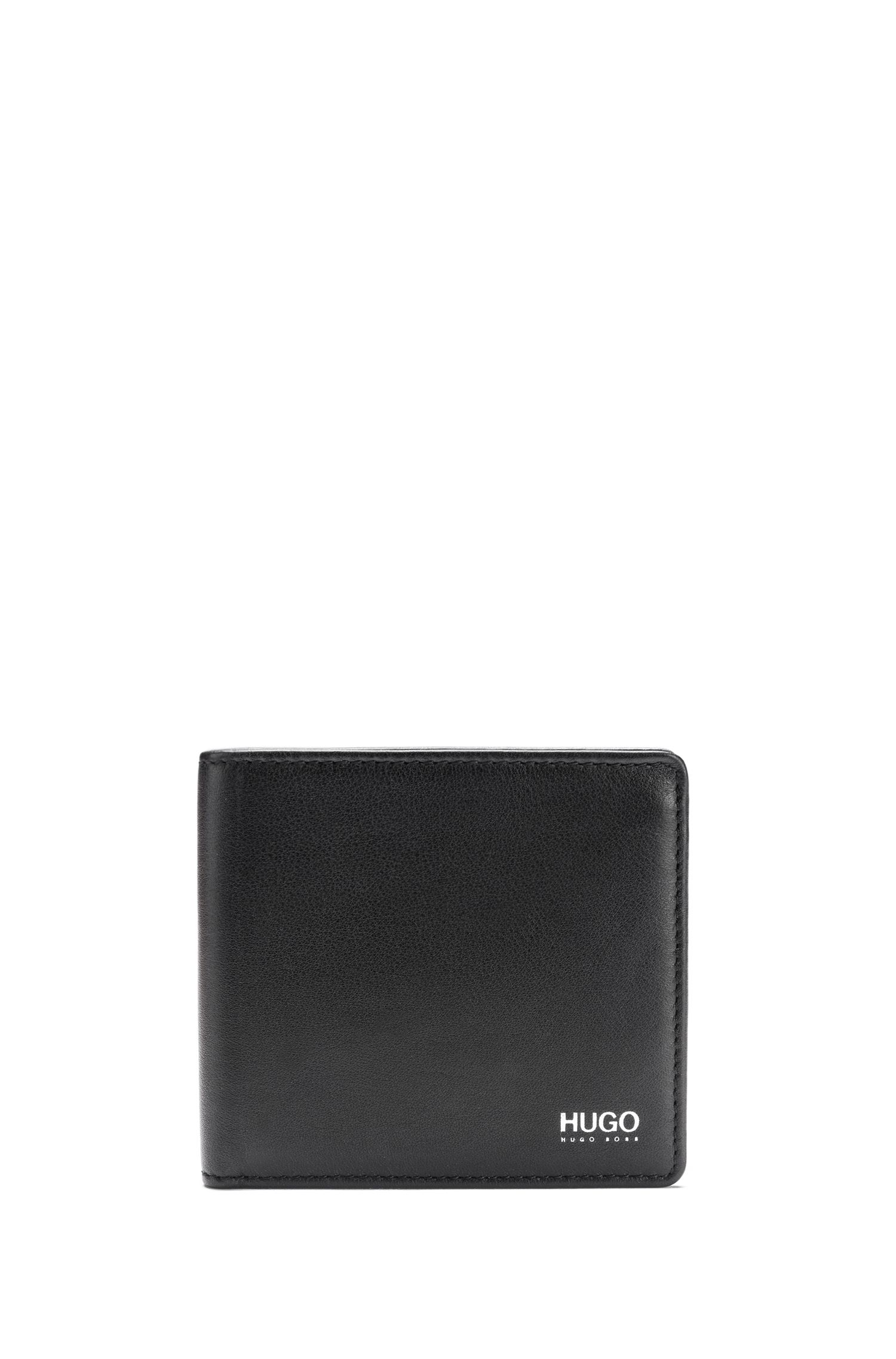 Leather wallet and card holder gift set with contrast logo, Black
