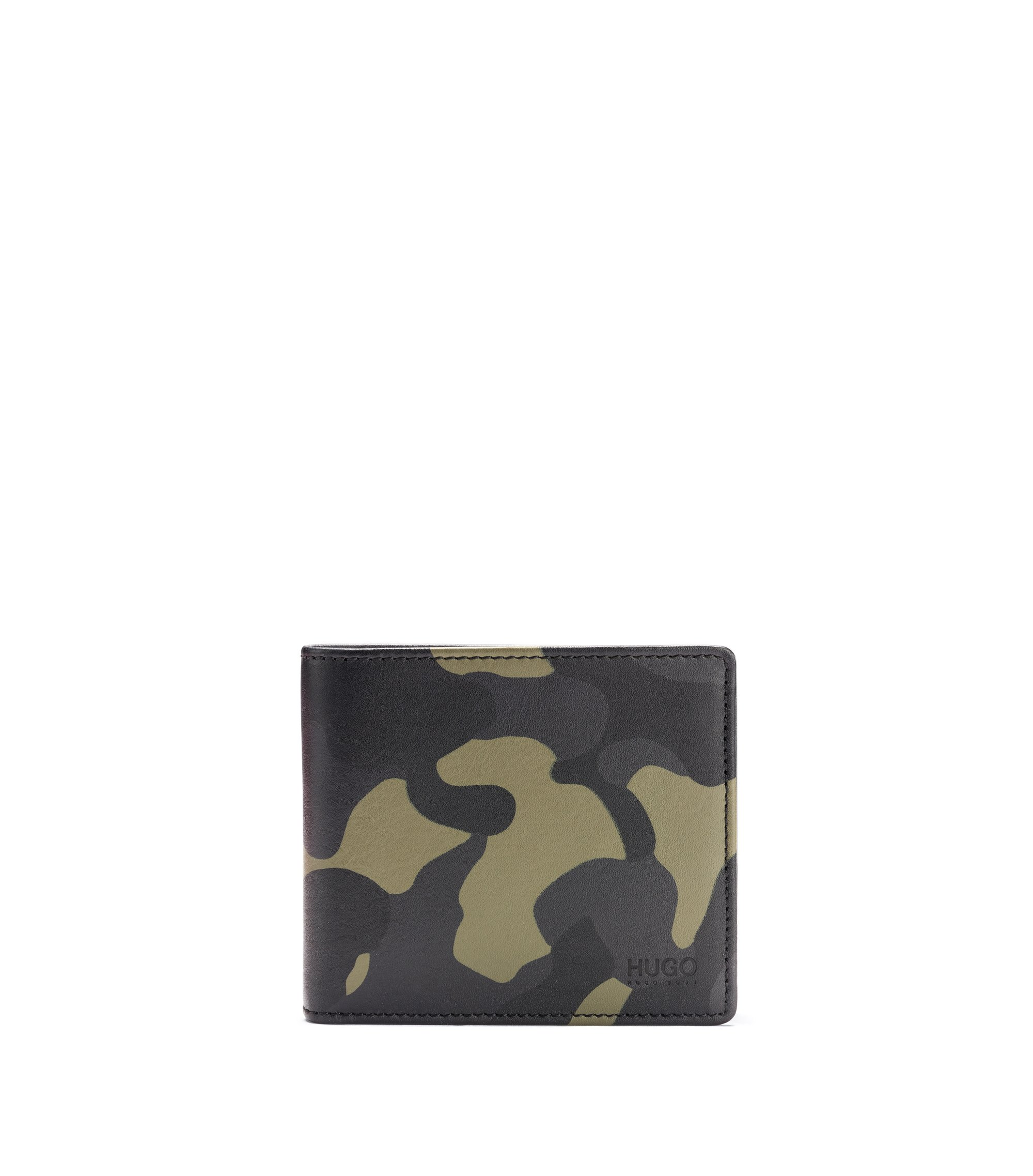 Camouflage-leather wallet and key ring gift set, Patterned