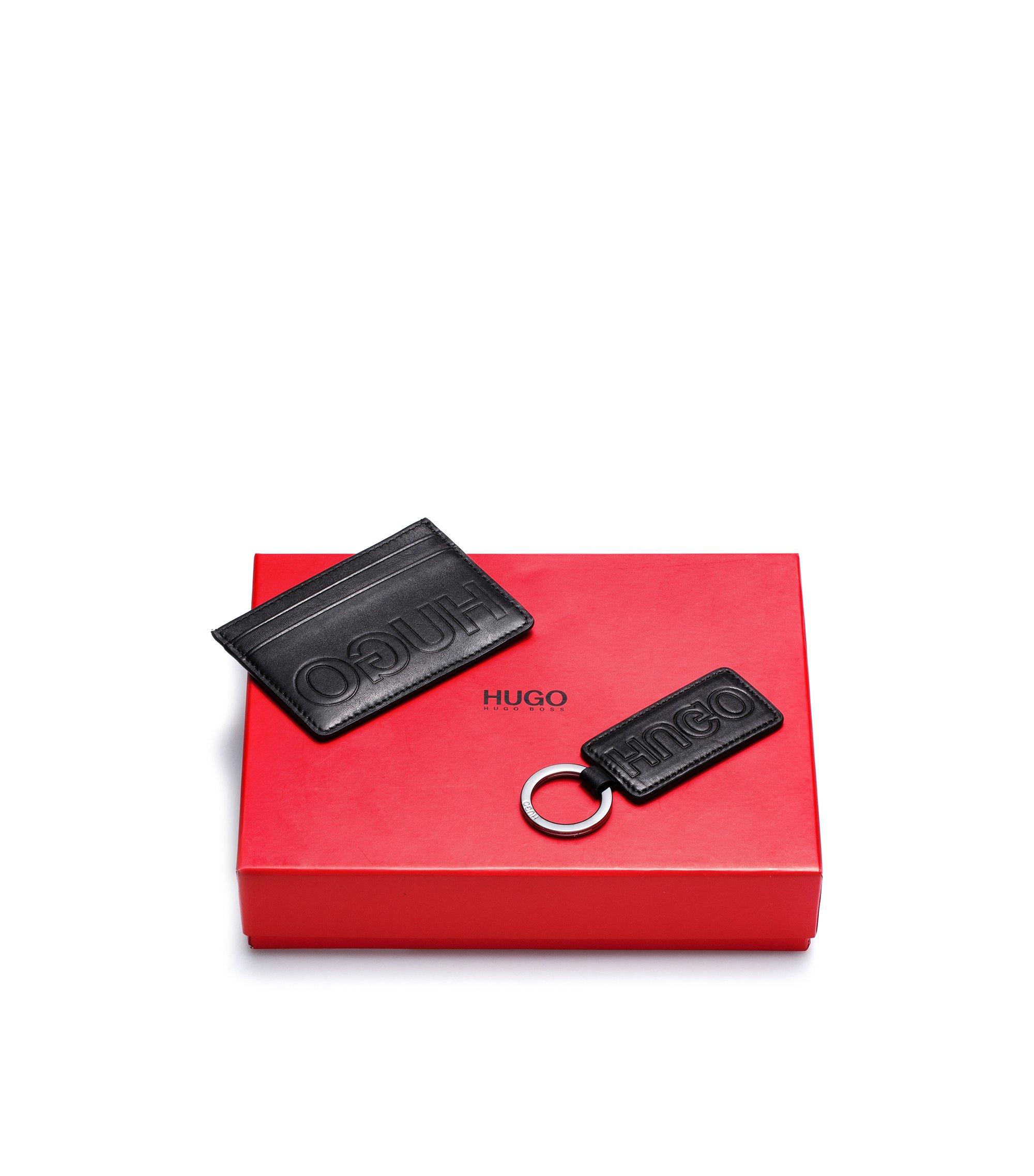 Set regalo di accessori in pelle con logo a rovescio goffrato, Nero