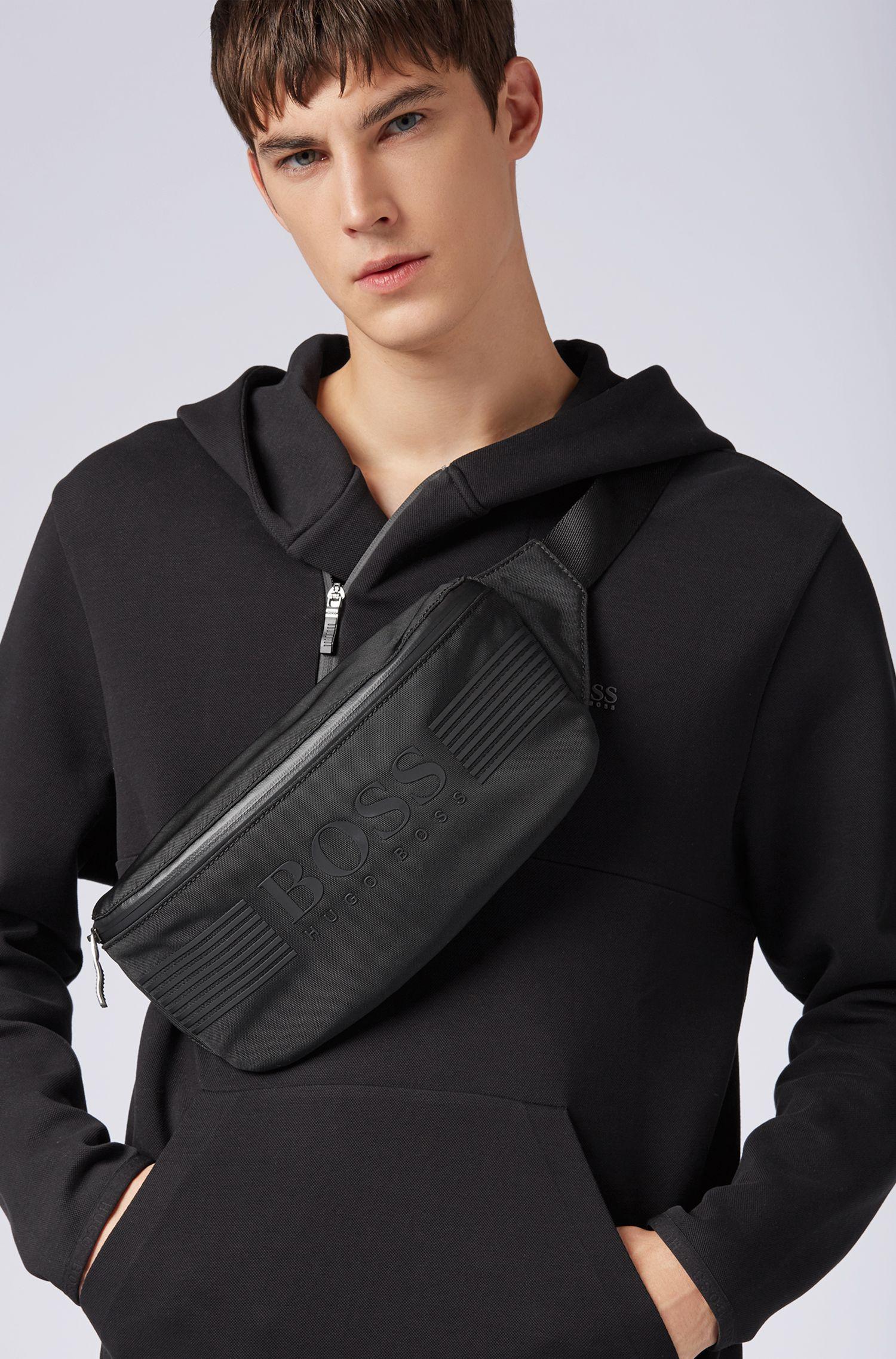 Nylon belt bag with waterproof zip, Black