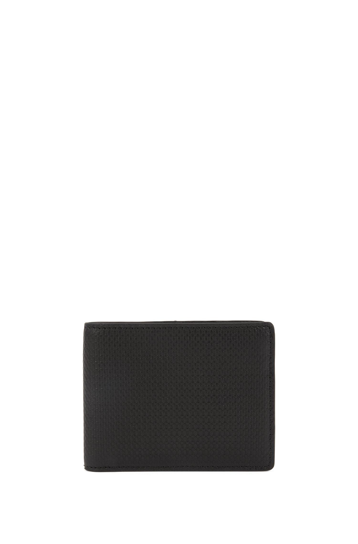Leather billfold wallet with monogrammed logo motif, Black