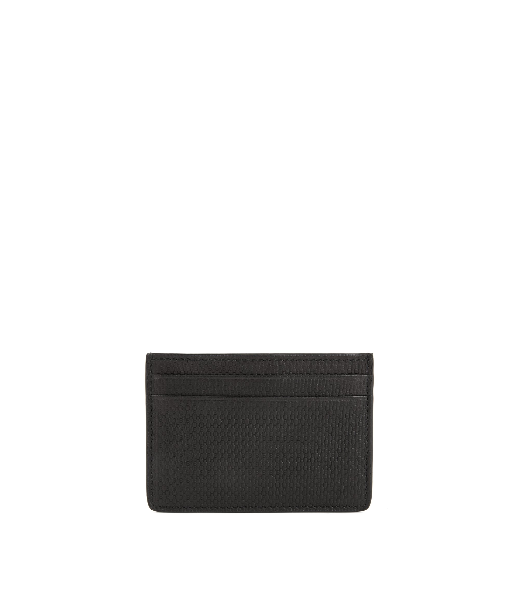 Leather card holder with monogram embossing, Black