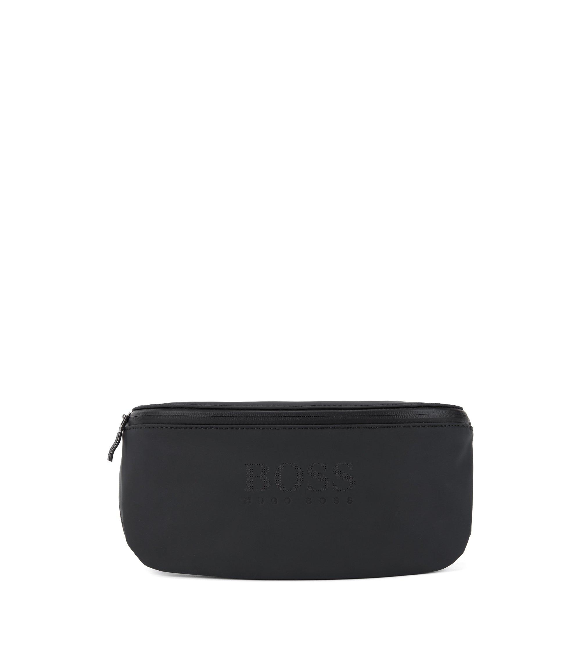 Belt bag in rubberised matte technical fabric, Black