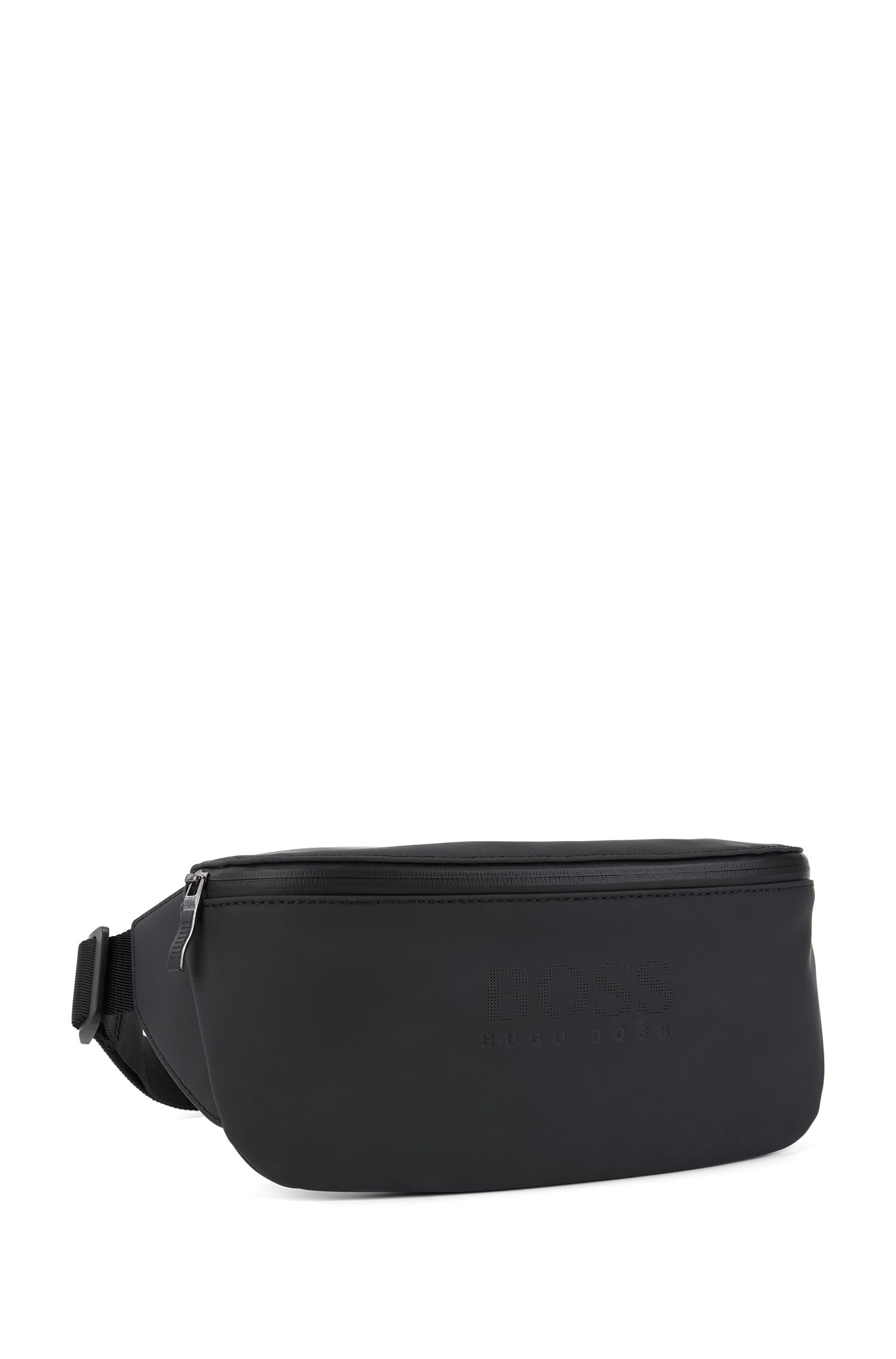 Belt bag in rubberised matte technical fabric