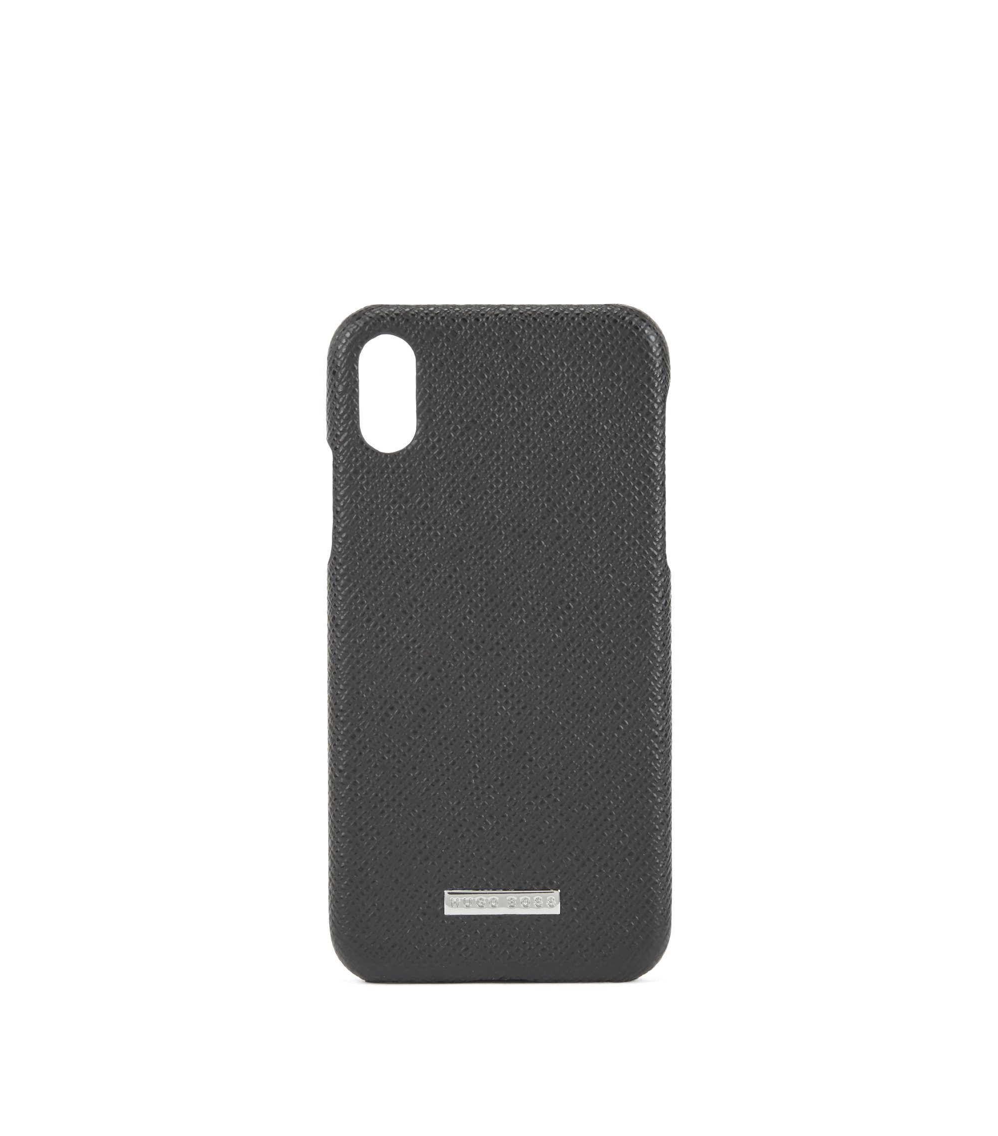 Funda para iPhone X de Signature Collection en piel de becerro italiana, Negro