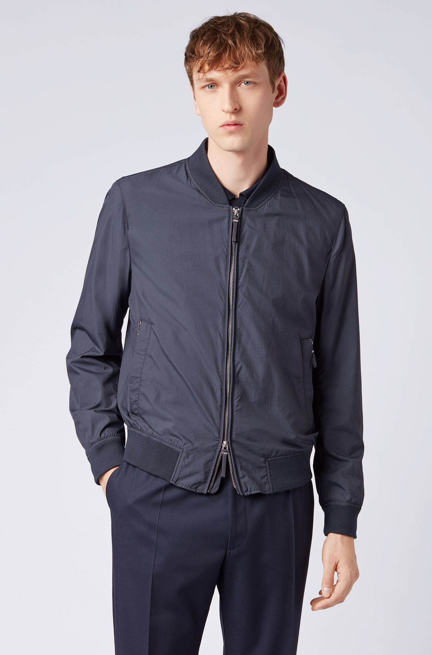 Packable jacket in micro-structured technical fabric, Dark Blue