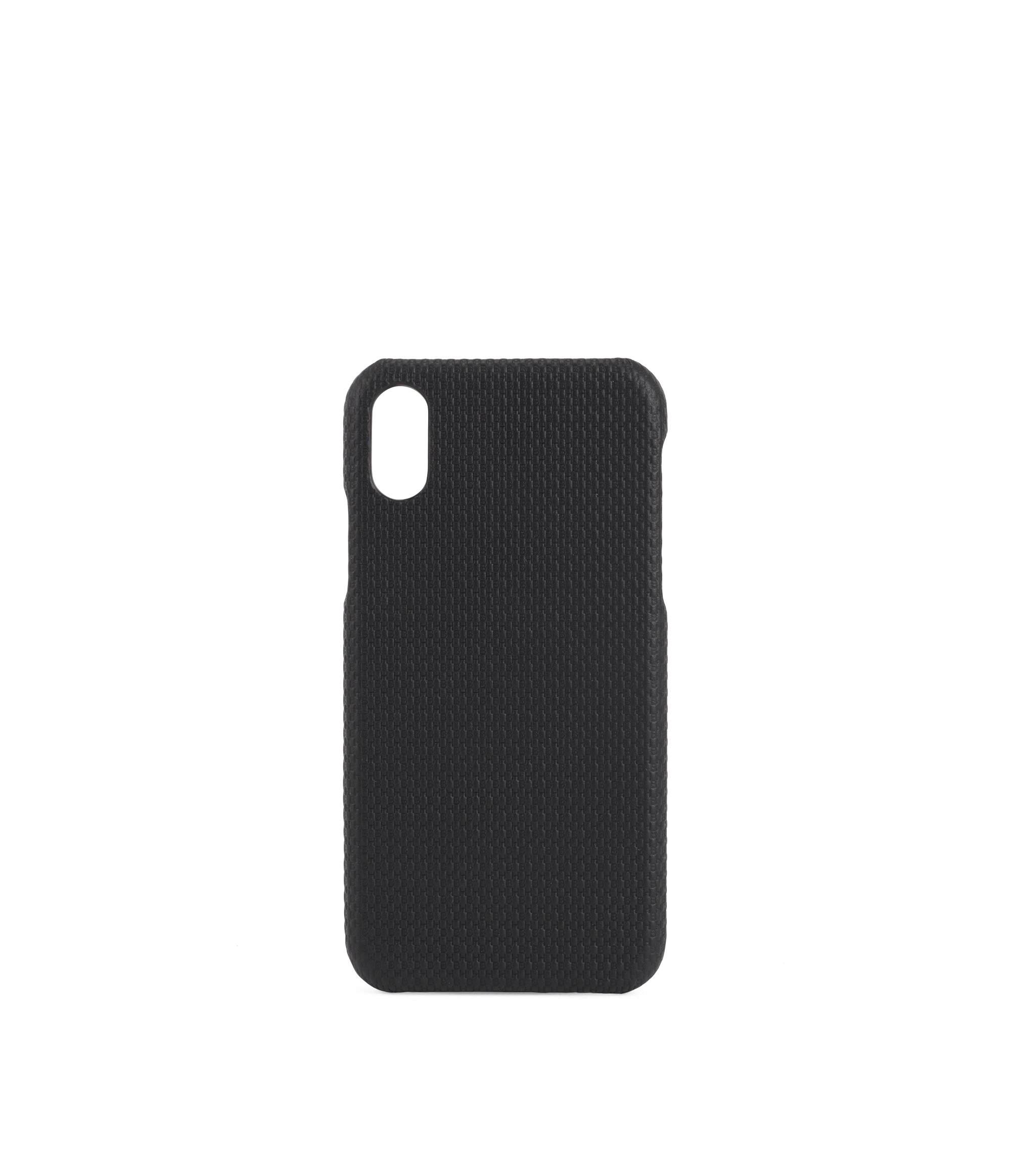 Cover per smartphone iPhone X in pelle con monogramma, Nero
