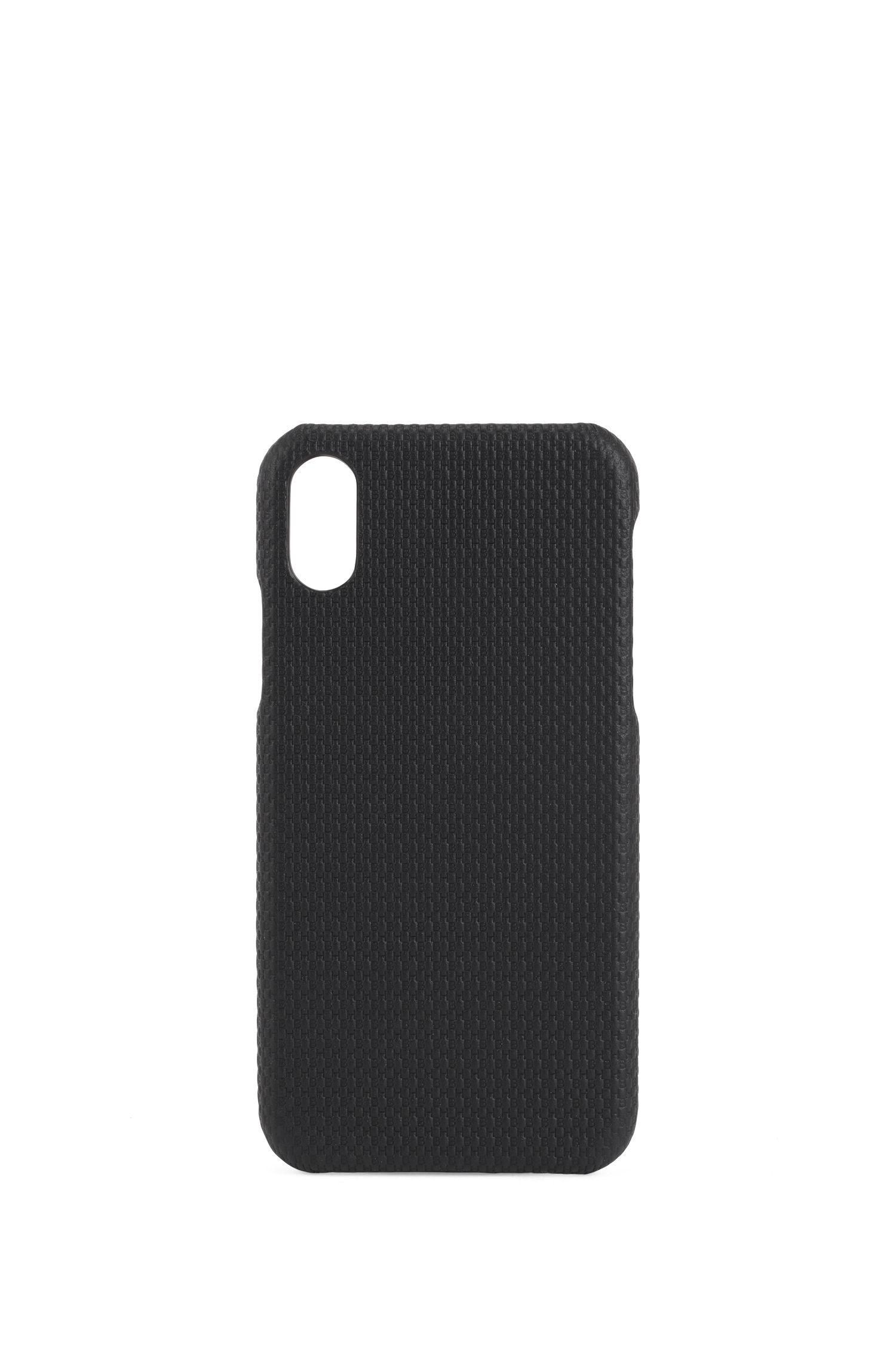 Smartphone-Hülle aus Leder mit Monogramm für das iPhoneX, Schwarz