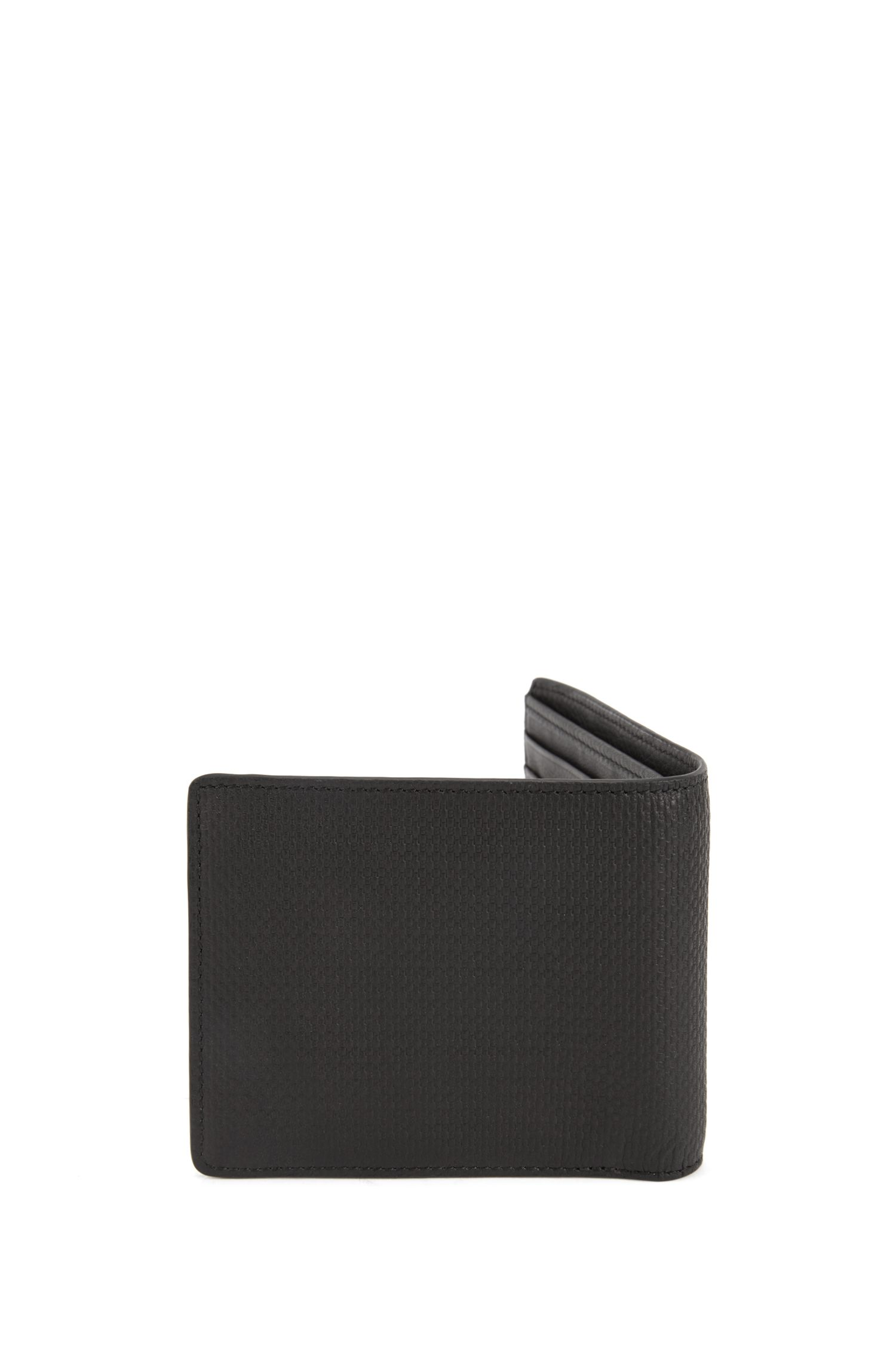 Billfold wallet in monogrammed leather with coin pocket, Black