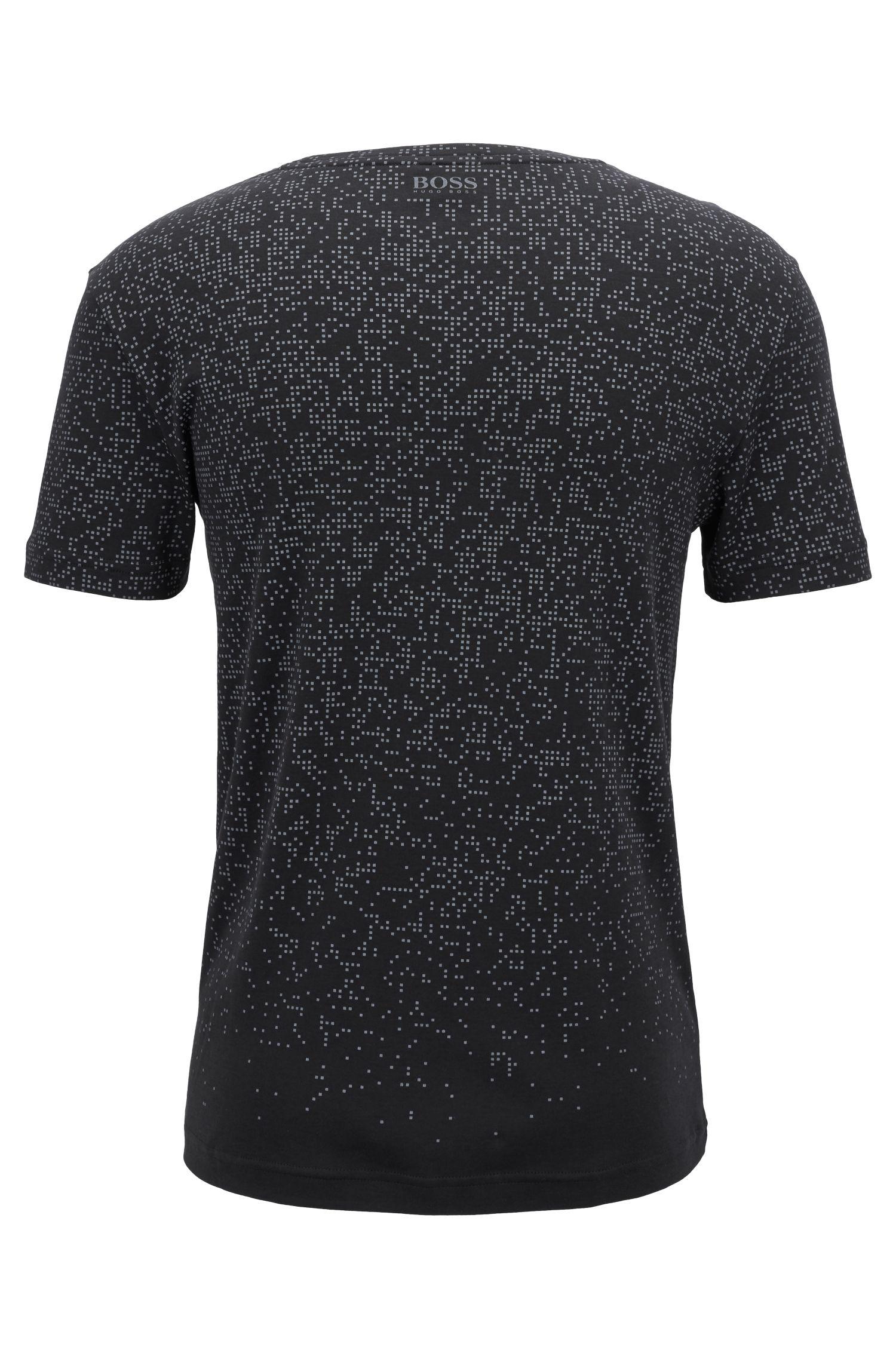 Camiseta slim fit en algodón con estampado pixelado, Negro