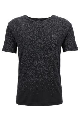 T-shirt slim fit in cotone con motivo pixelato, Nero