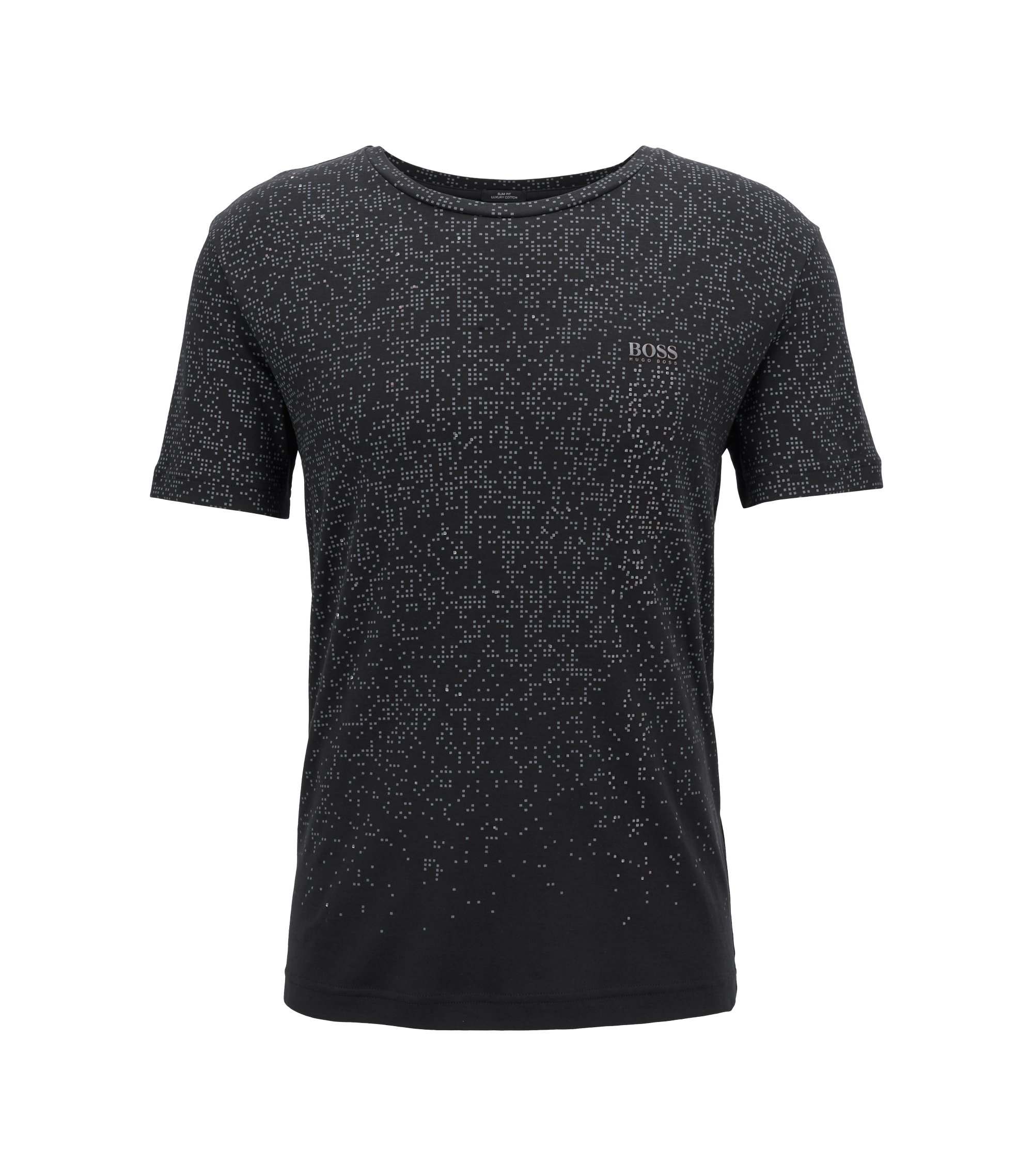 Slim-fit cotton T-shirt with pixelated pattern, Black