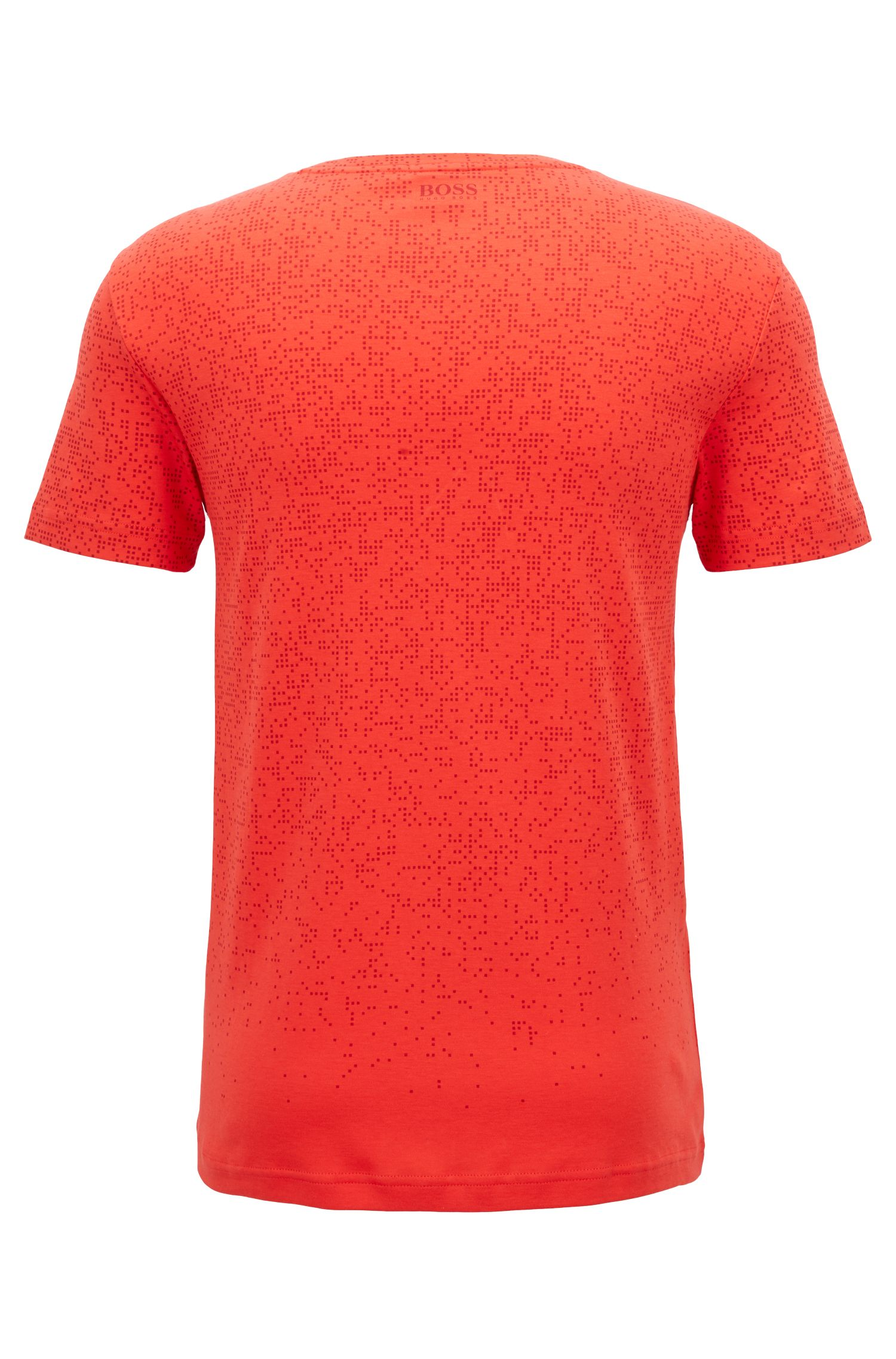 T-shirt slim fit in cotone con motivo pixelato, Rosso chiaro