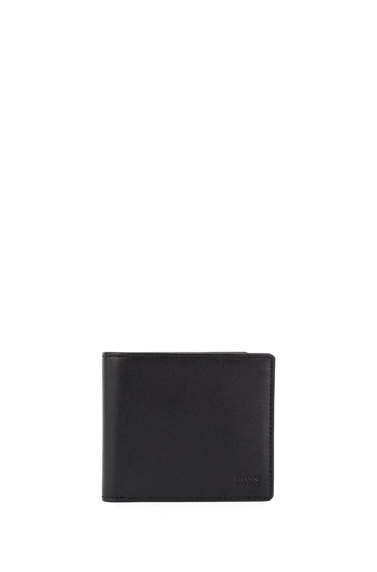 Klapp-Geldbörse aus glattem Nappaleder, Schwarz