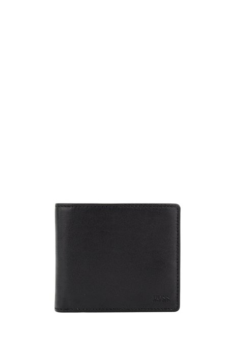 Billfold wallet in nappa leather with coin pocket, Black