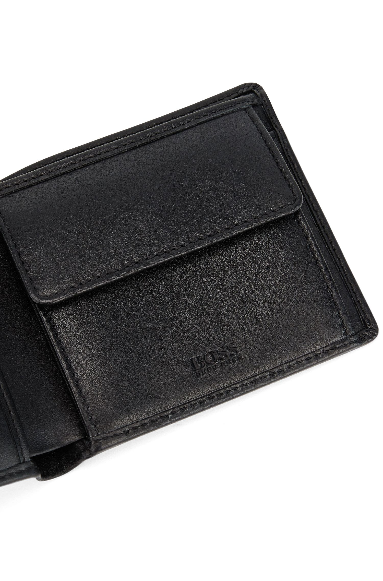 Billfold wallet in nappa leather with embossed logo, Black