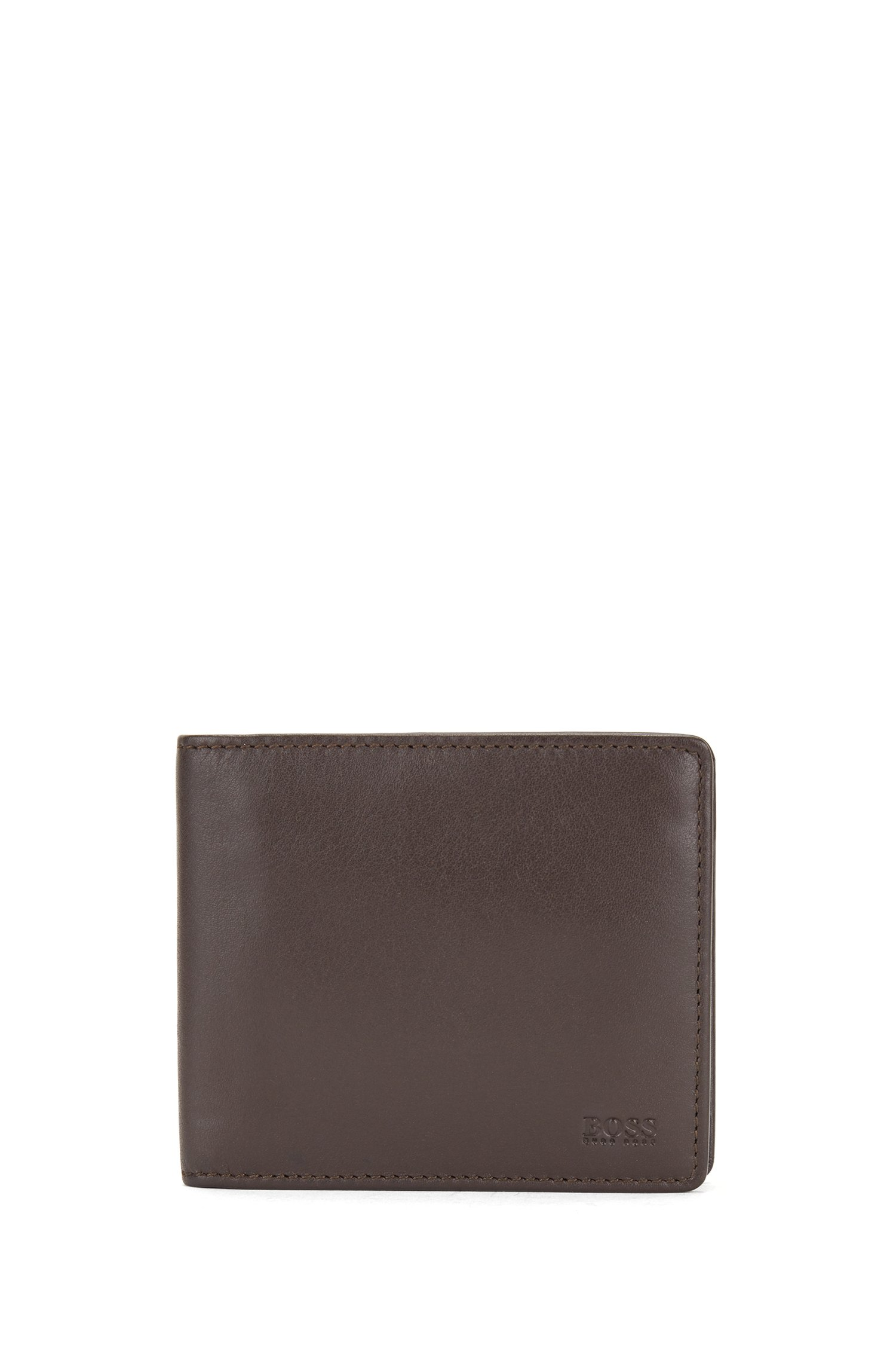 Billfold wallet in nappa leather with coin pocket, Dark Brown
