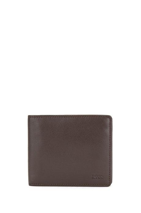 Portafoglio bi-fold in nappa con logo goffrato, Marrone scuro