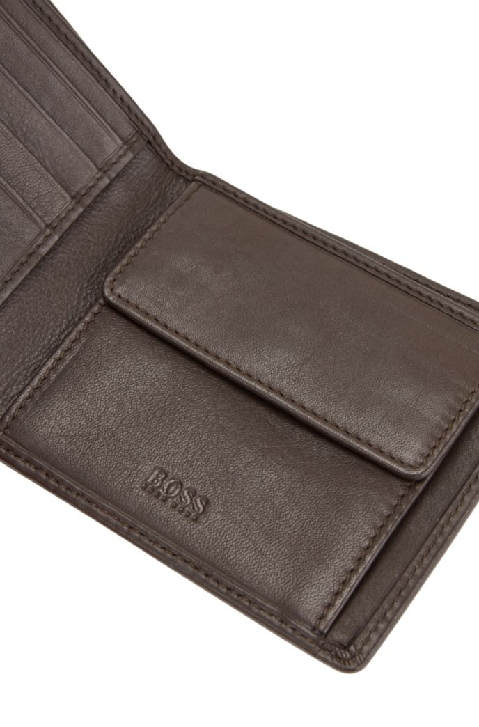 Billfold wallet in nappa leather with coin pocket