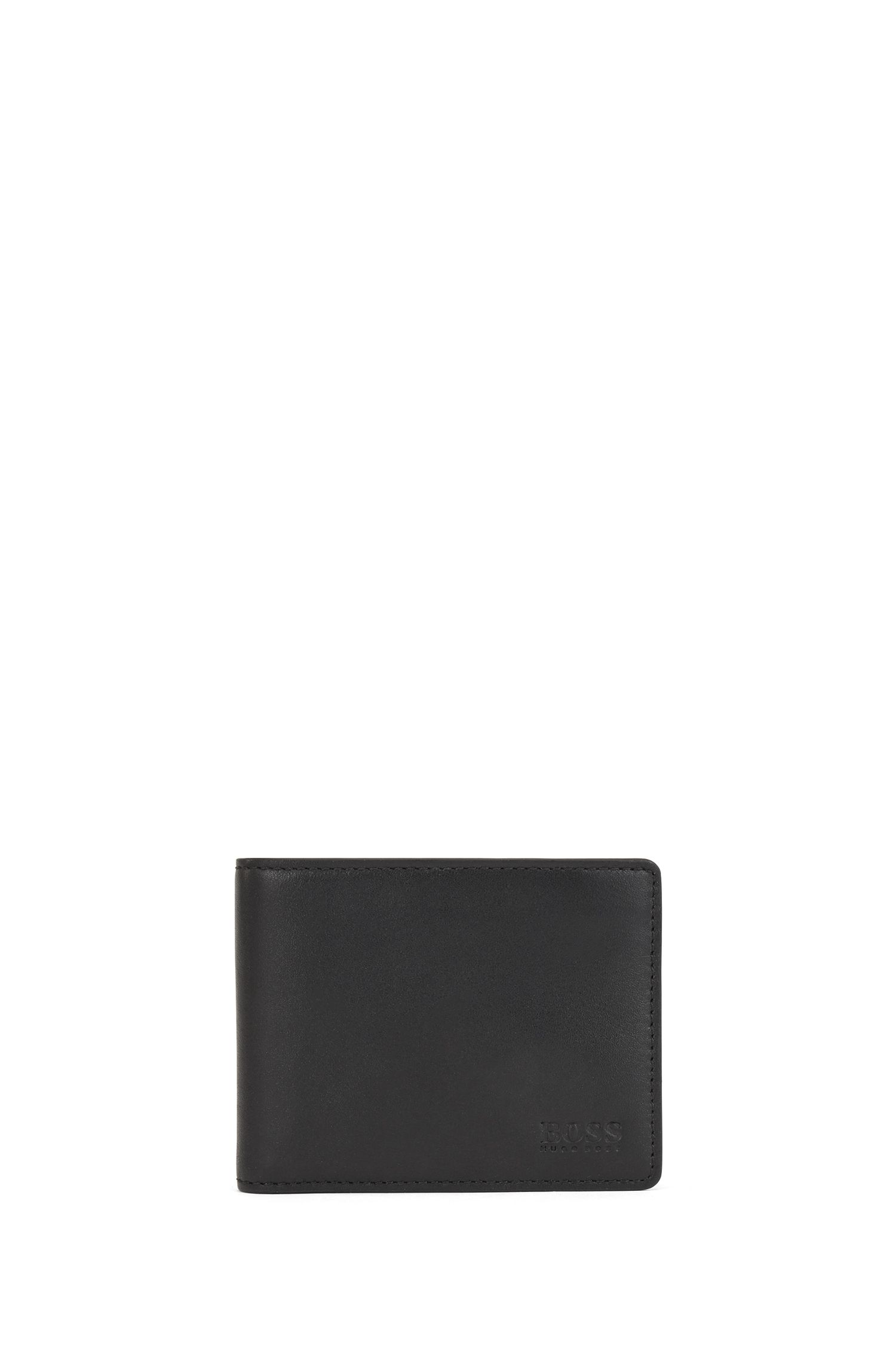 Nappa-leather billfold wallet with embossed logo, Black