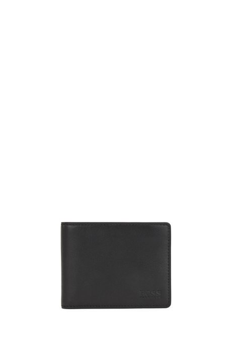 Billfold wallet in nappa leather with six card slots, Black