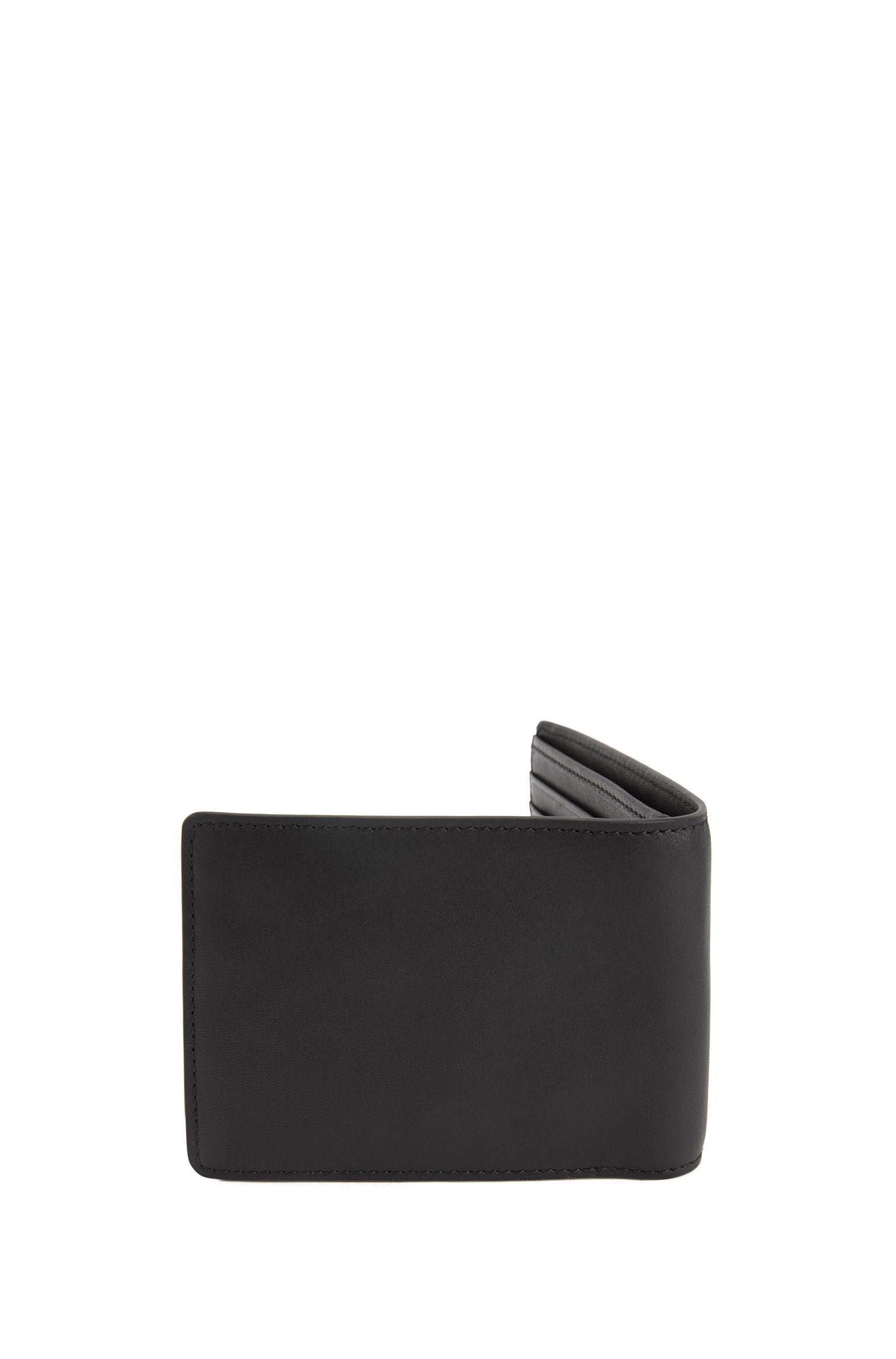 Portefeuille pliable en cuir nappa avec logo embossé
