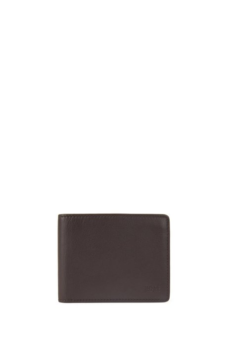 Billfold wallet in nappa leather with six card slots, Dark Brown