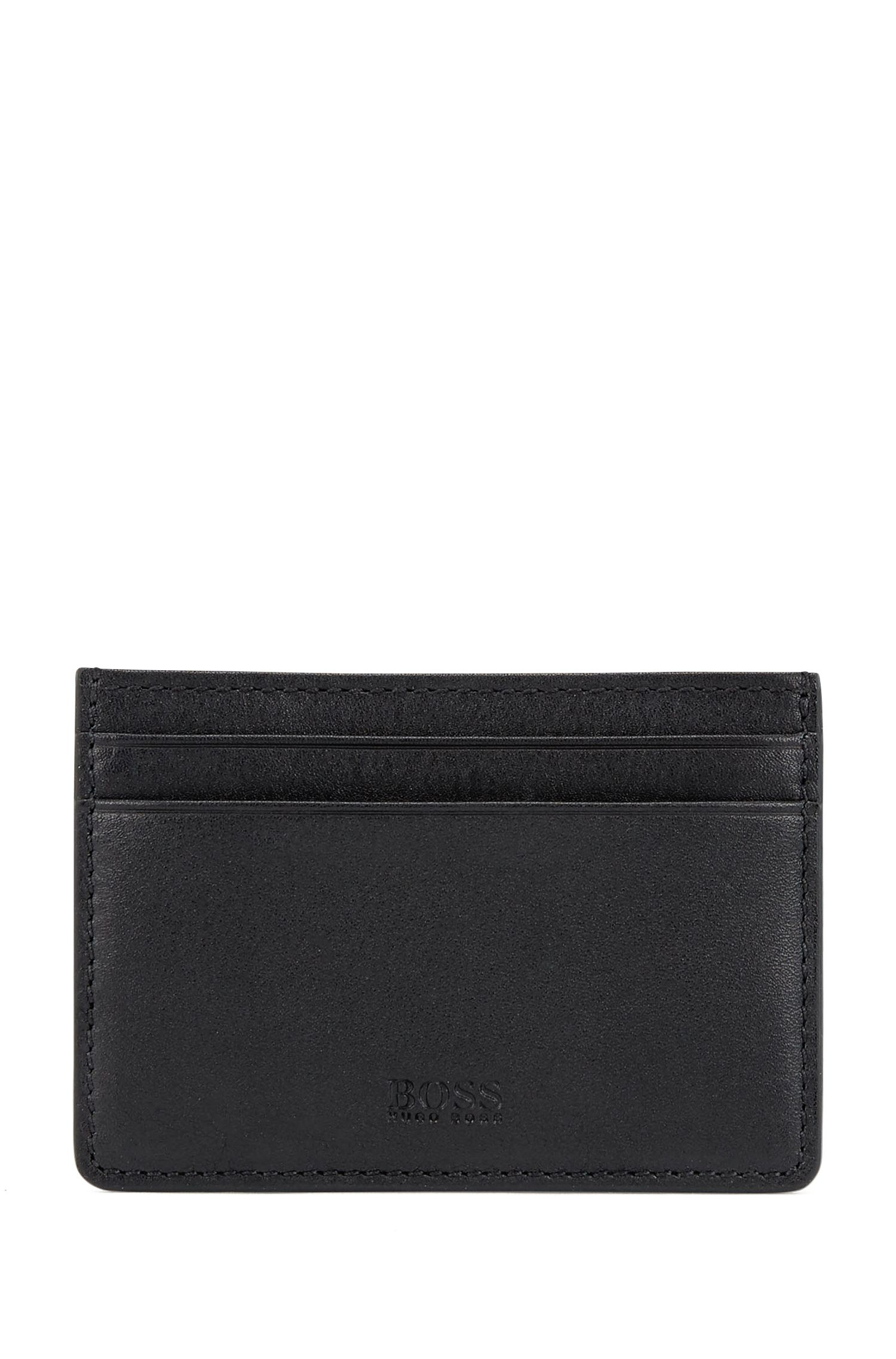 Leather card case with money clip, Black