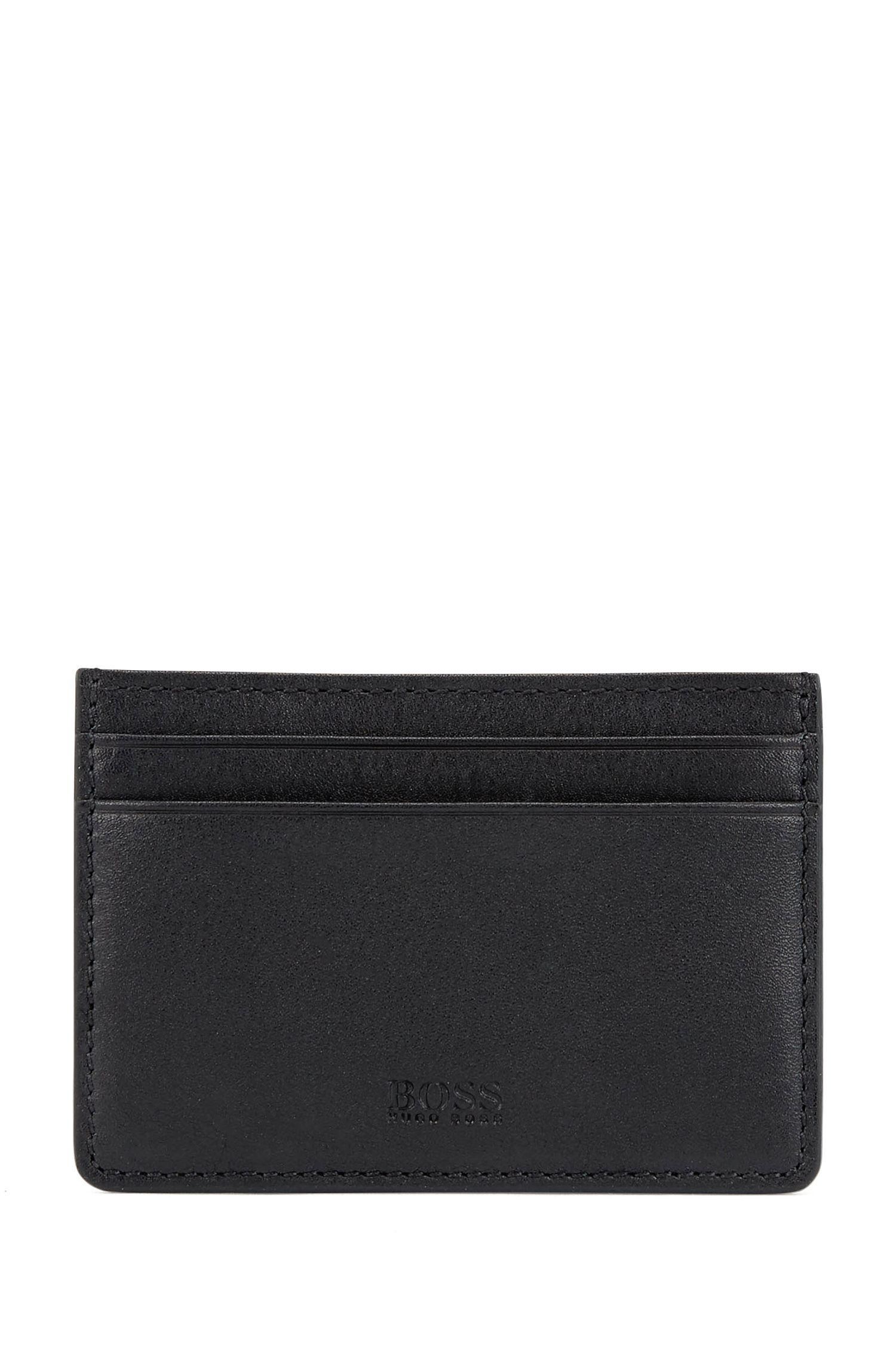 Porte-cartes en cuir avec pince à billets, Noir