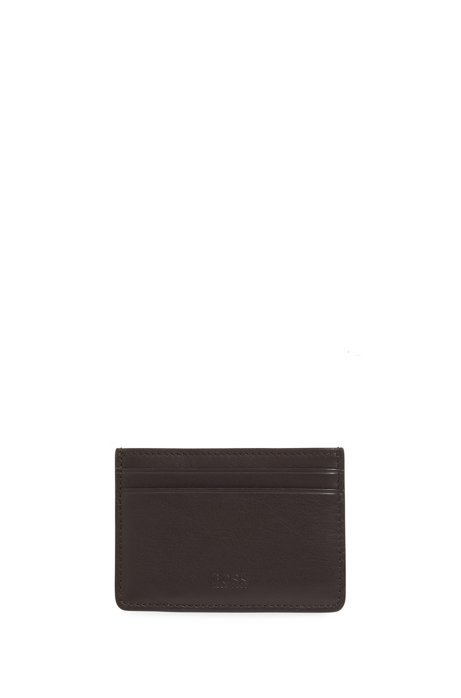 Leather card case with money clip, Dark Brown