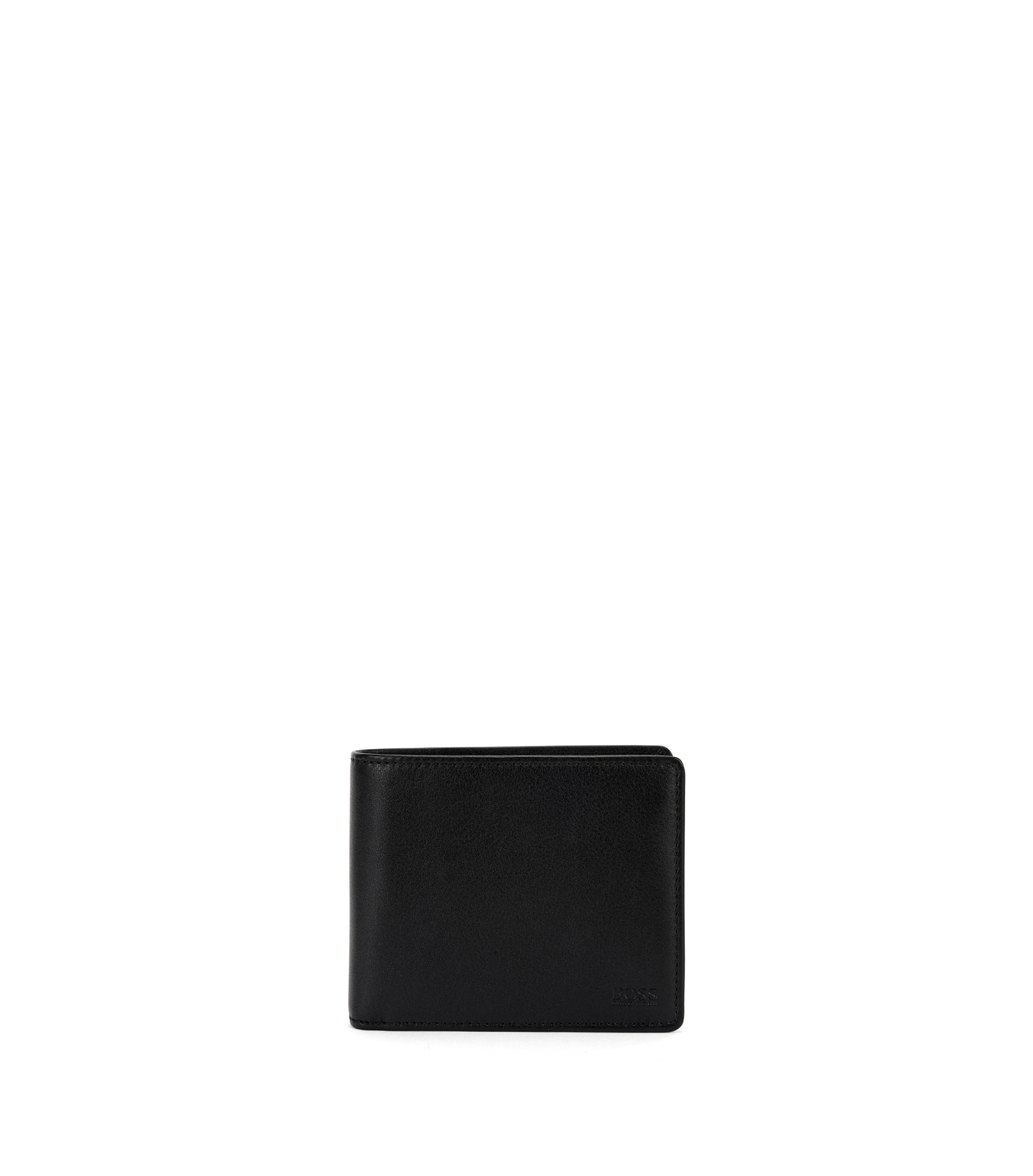 Trifold wallet in matte leather, Black