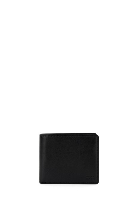 Trifold wallet in nappa leather with ID window, Black