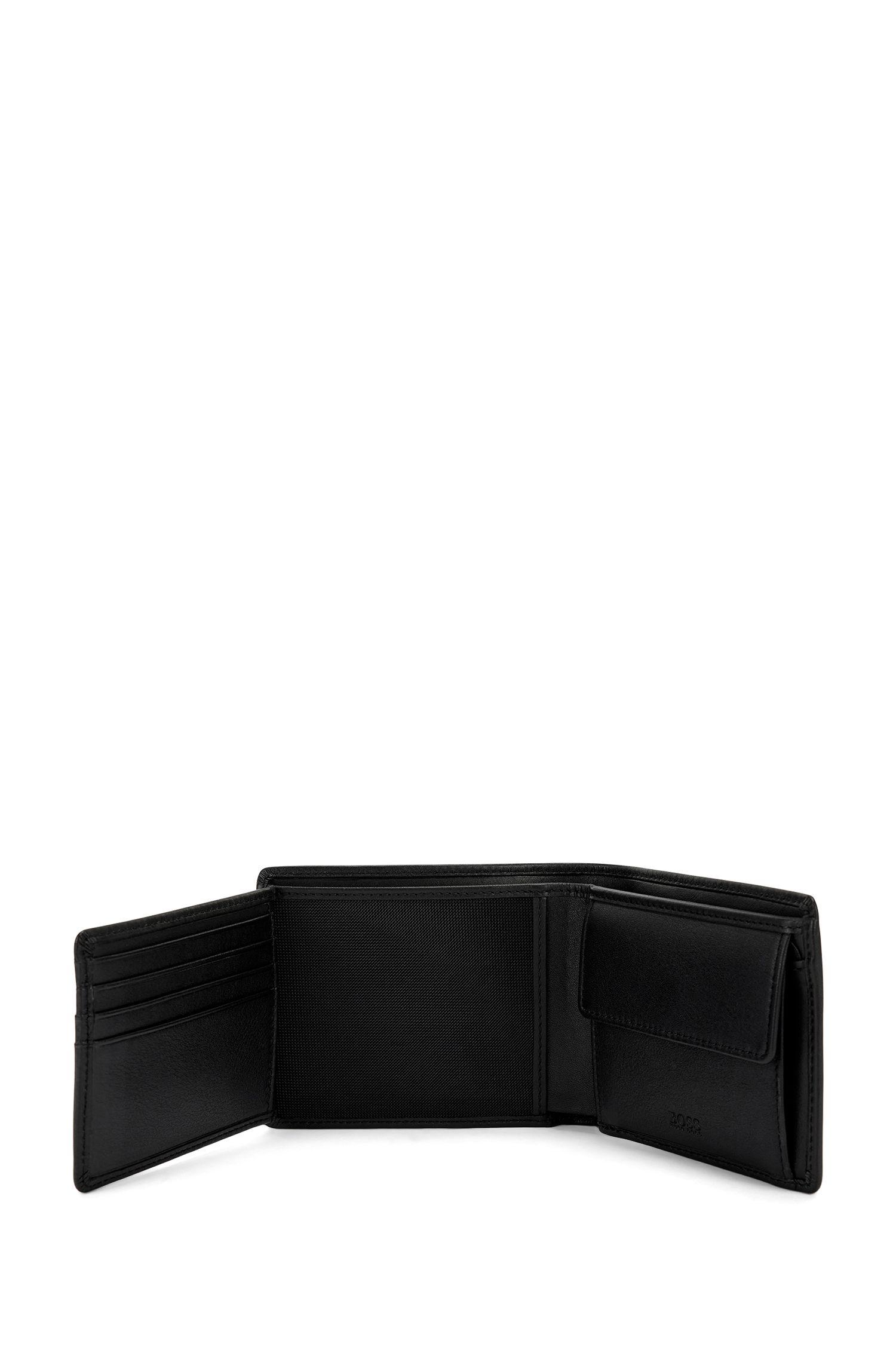 Klapp-Geldbörse aus mattem Leder, Schwarz