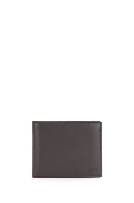 Trifold wallet in nappa leather with ID window, Dark Brown