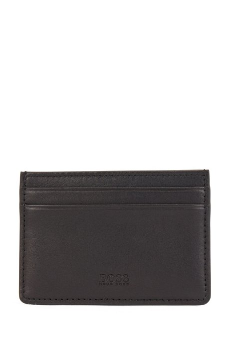 Card holder in nappa leather with blind-embossed logo, Black