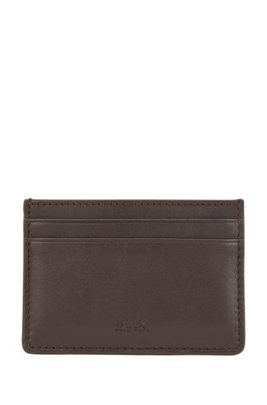 Card holder in nappa leather with blind-embossed logo, Dark Brown