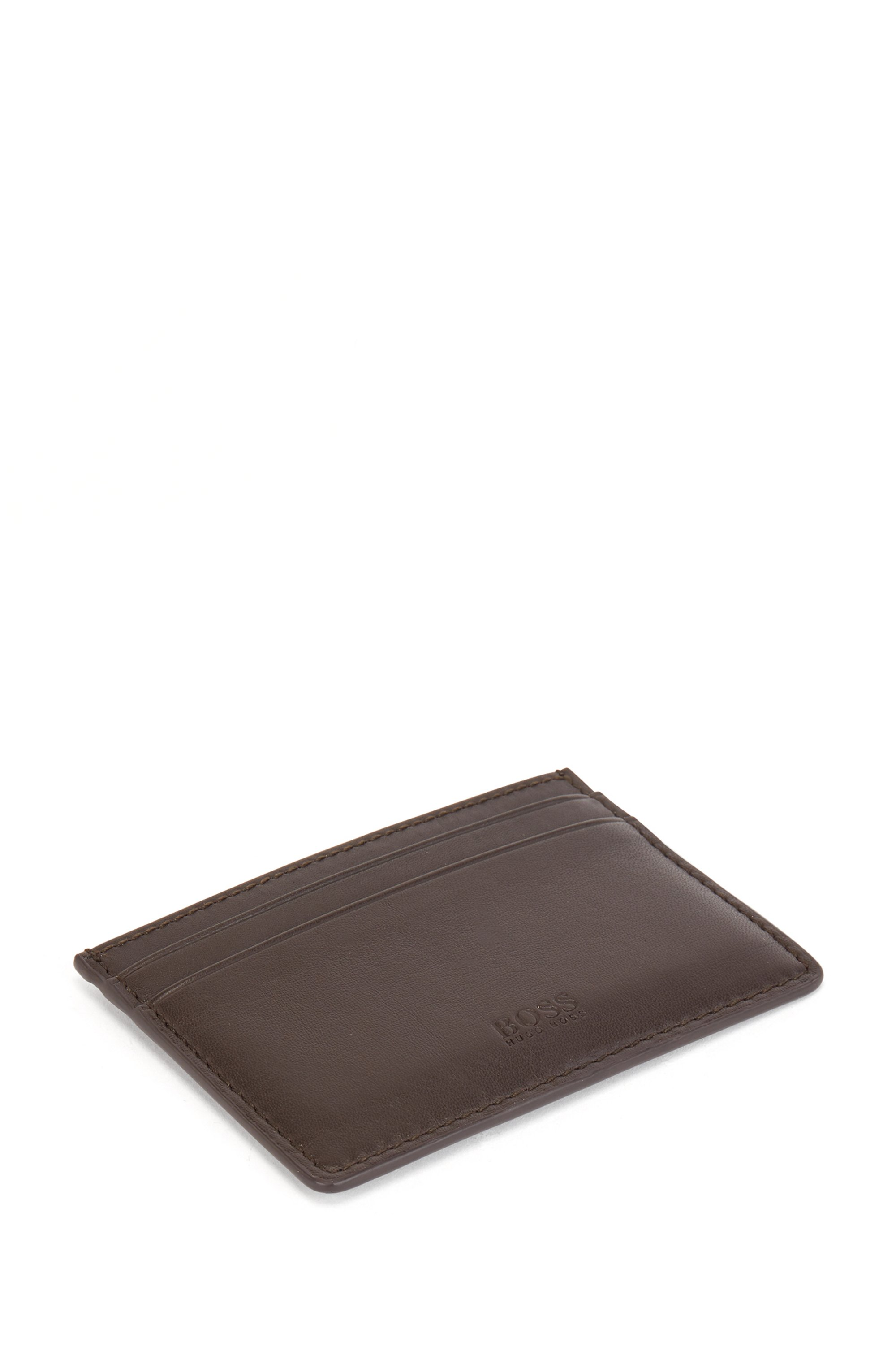 Card holder in nappa leather with blind-embossed logo