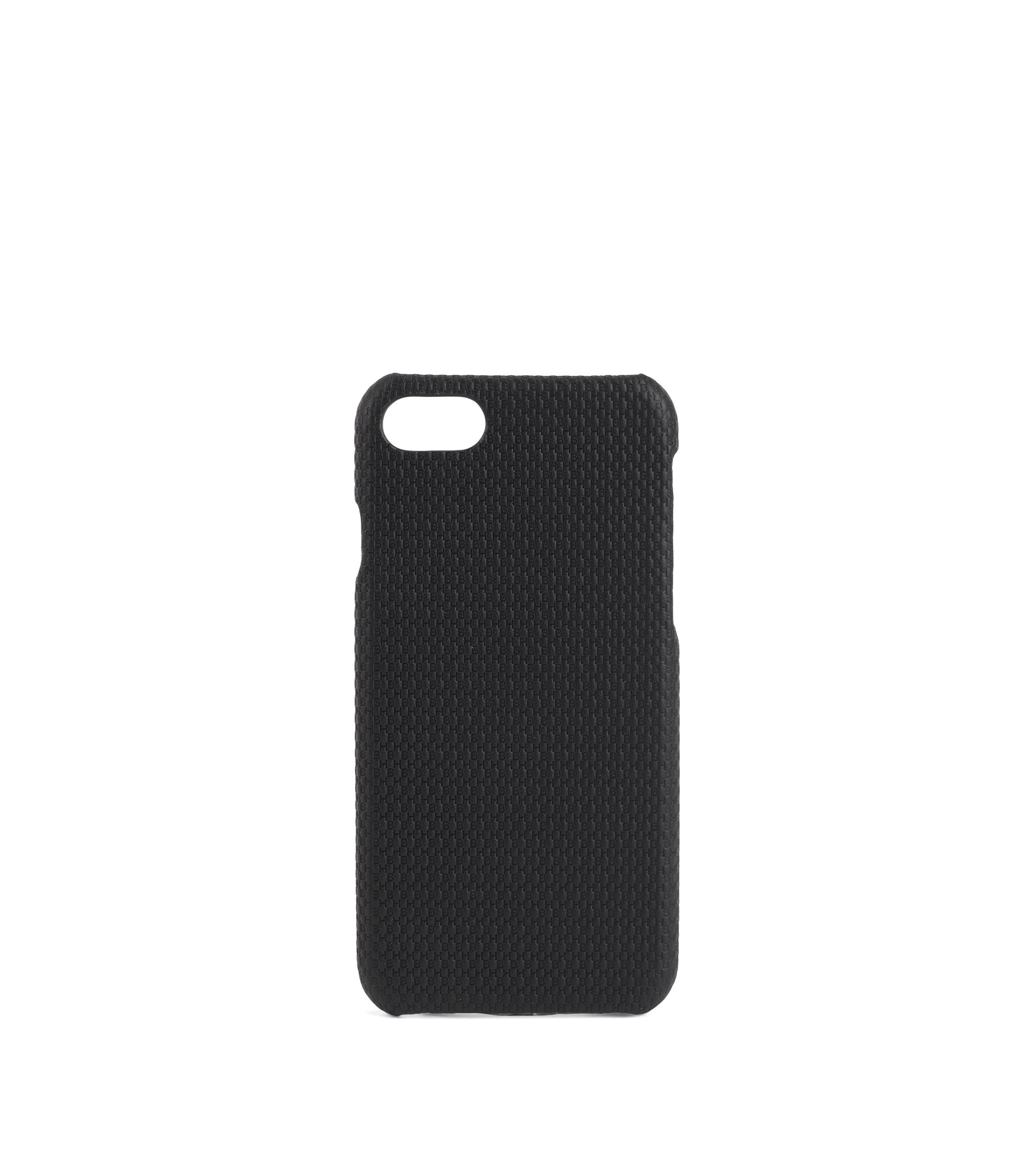 Cover per smartphone iPhone 8 in pelle con monogramma, Nero
