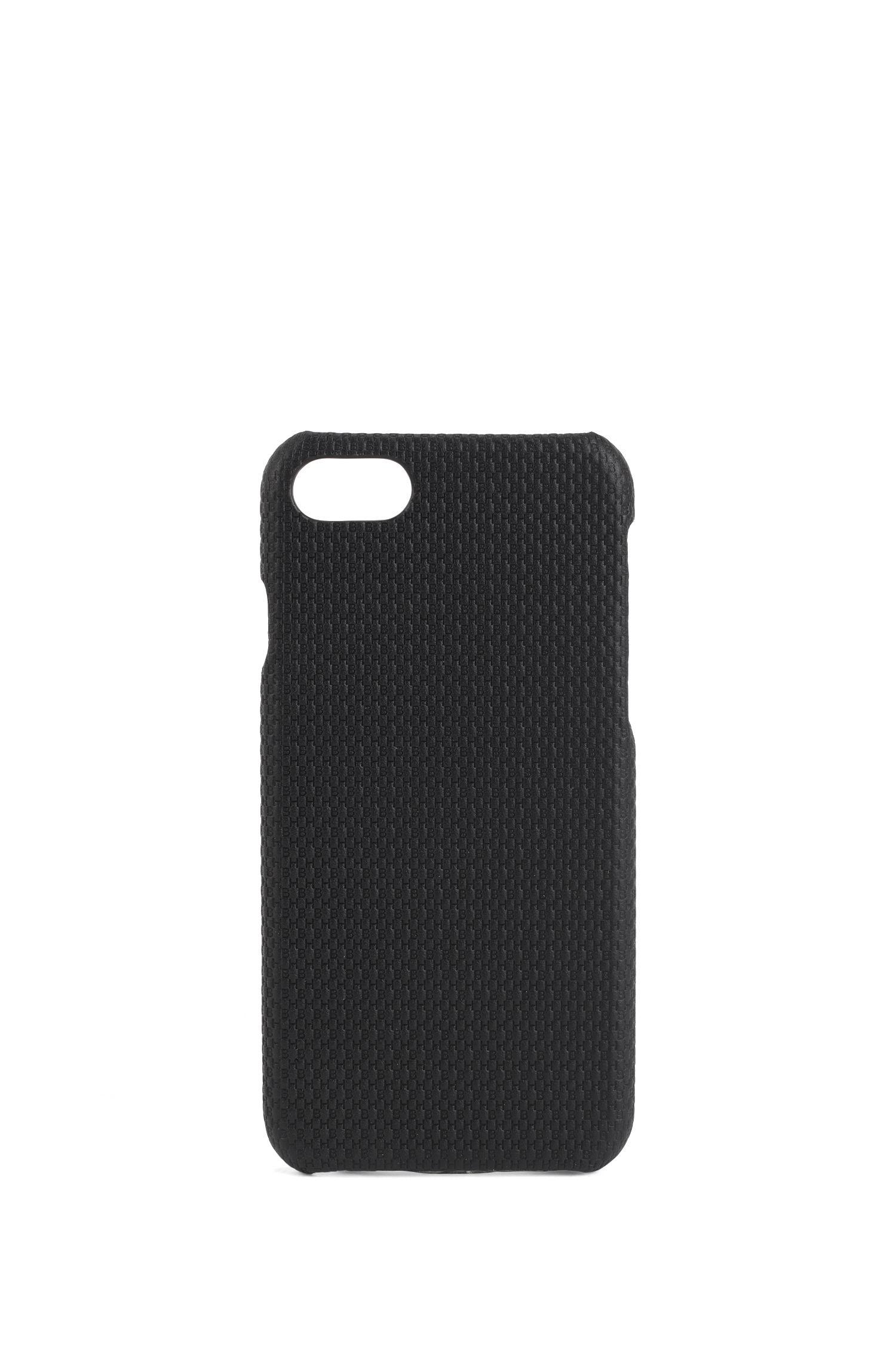 Funda para iPhone 8 en piel marcada con iniciales, Negro