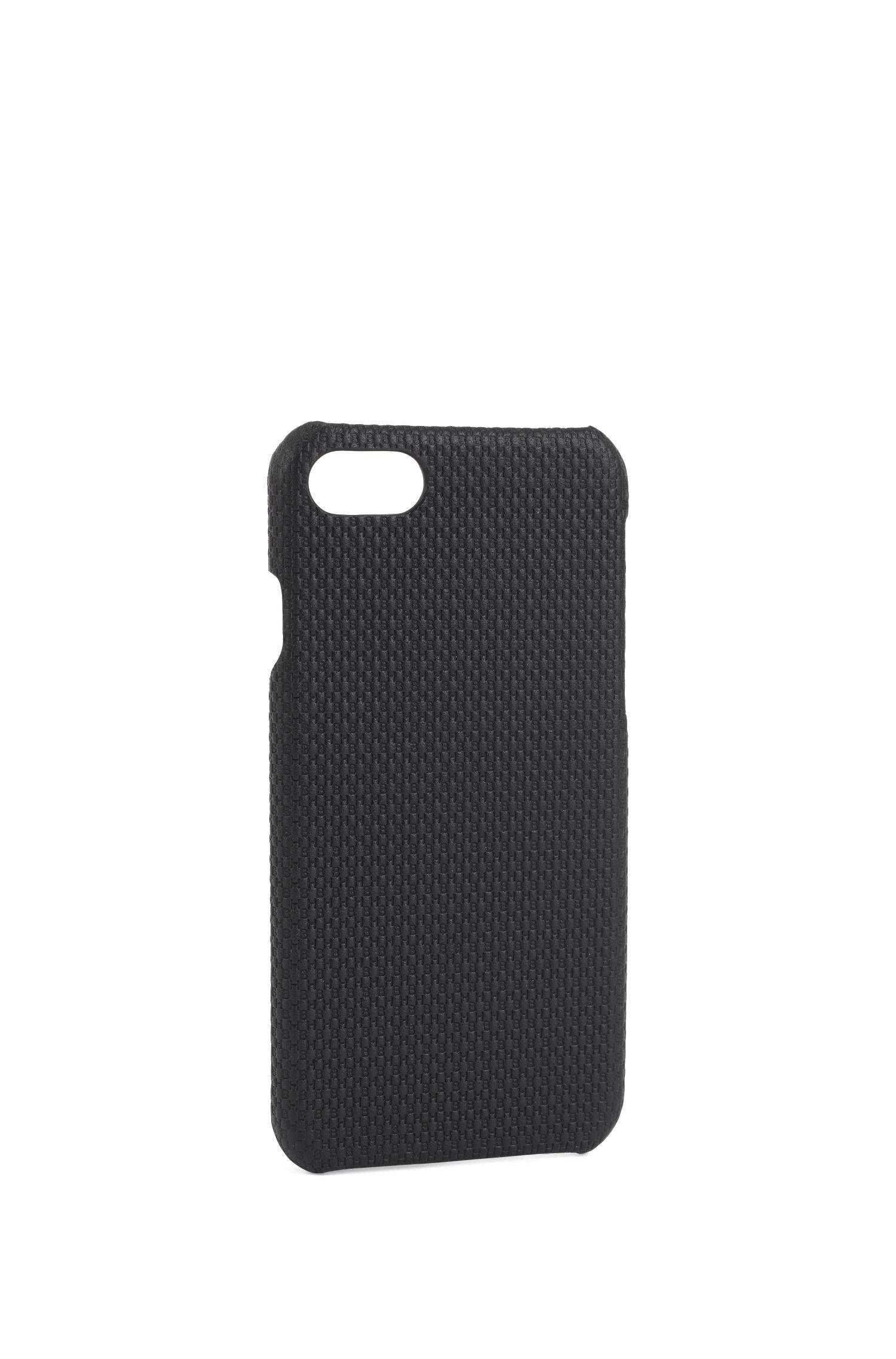 Coque pour iPhone8 en cuir monogrammé, Noir