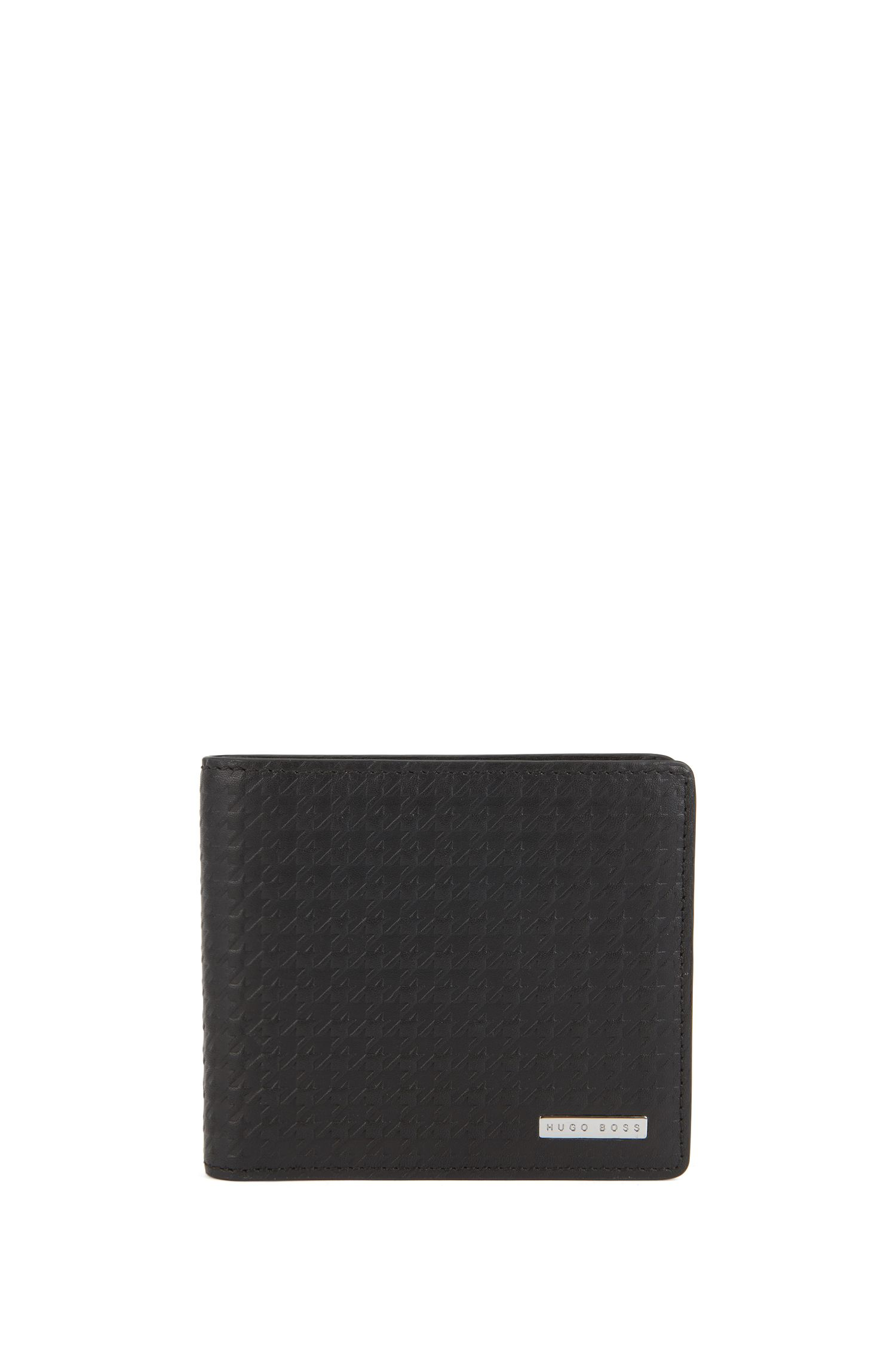 Wallet and card case gift set in houndstooth-embossed leather, Black