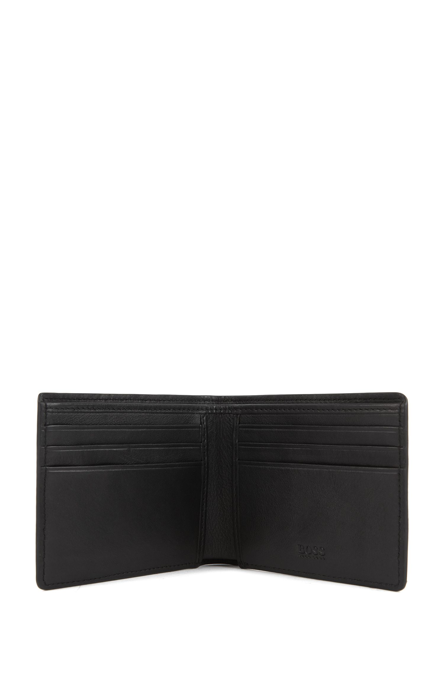 Monogram-embossed leather wallet and card holder gift set, Black
