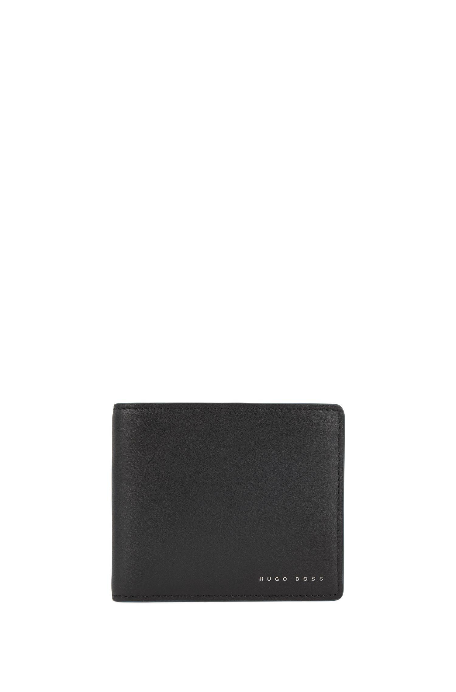 Cadeauset met leren portemonnee en sleutelhanger, Zwart