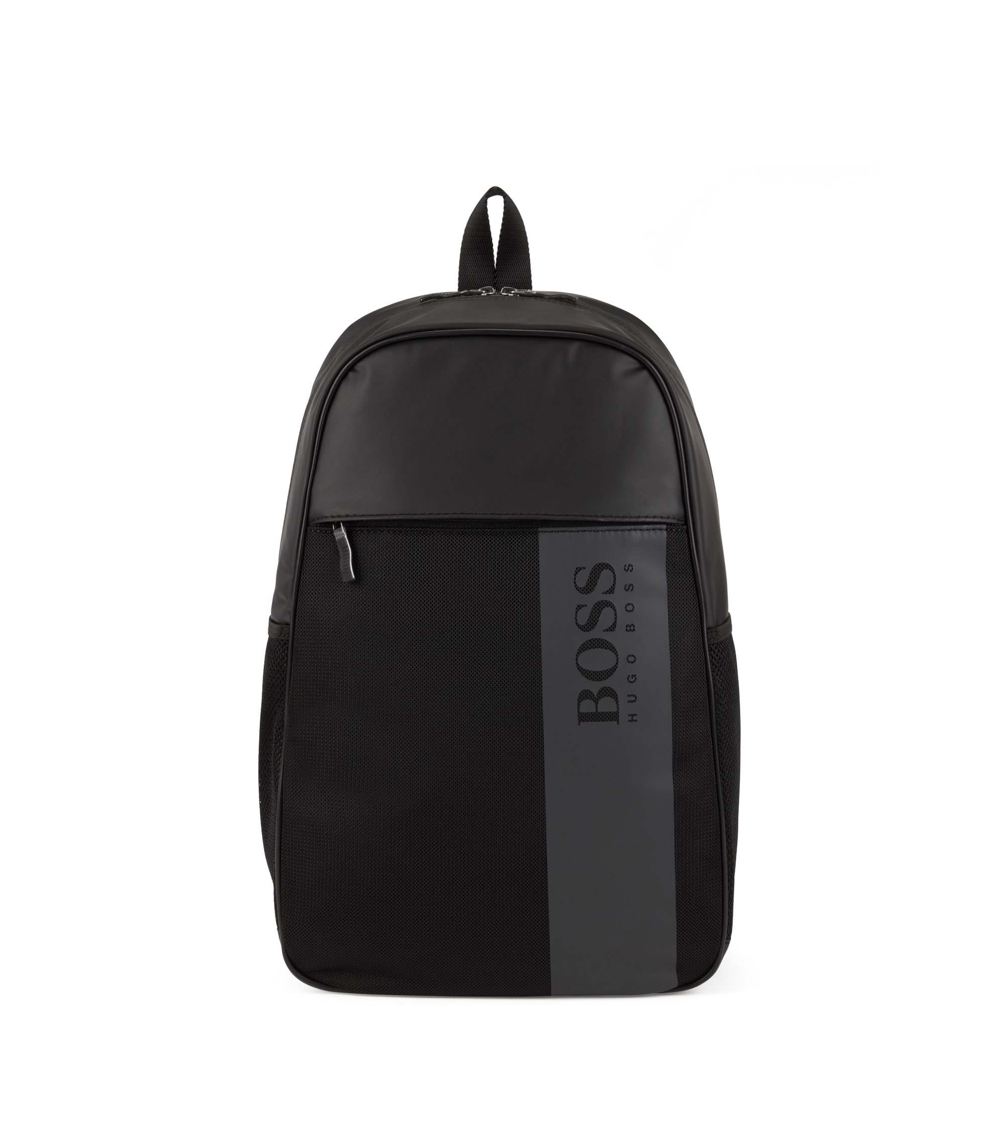 Backpack in coated nylon with mesh trim, Black